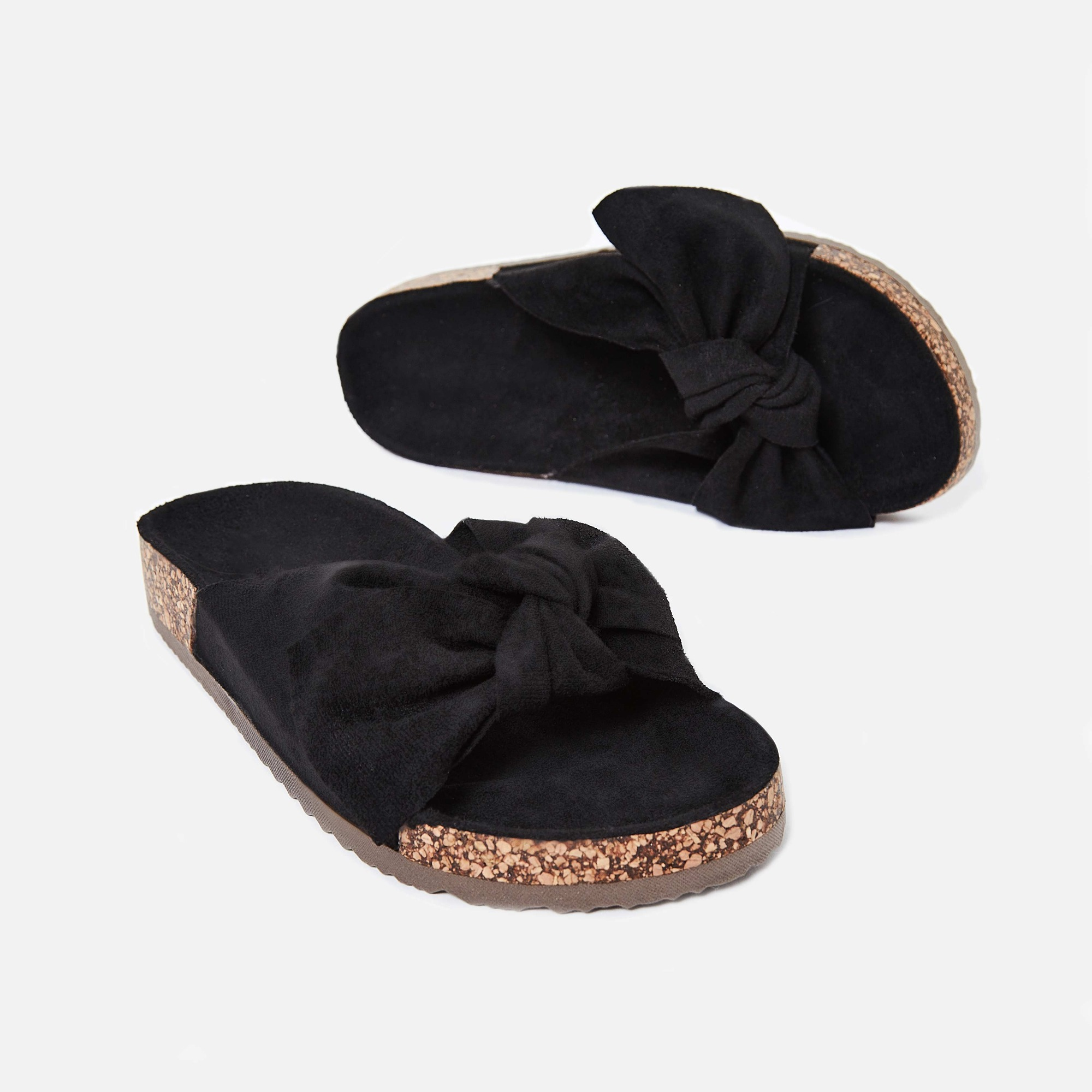 Paula Bow Detail Slider In Black Faux Suede