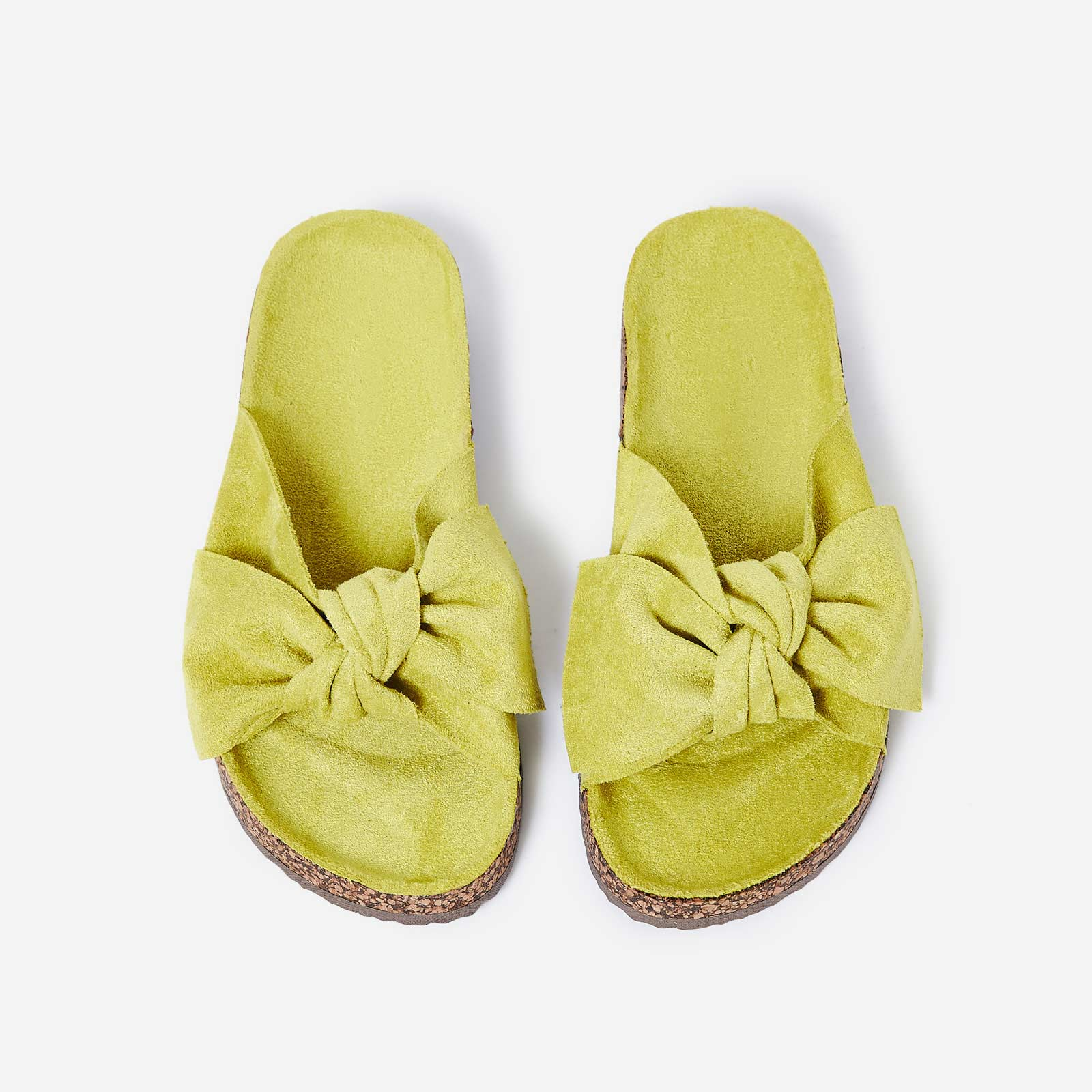 Paula Bow Detail Slider In Lime Green Faux Suede