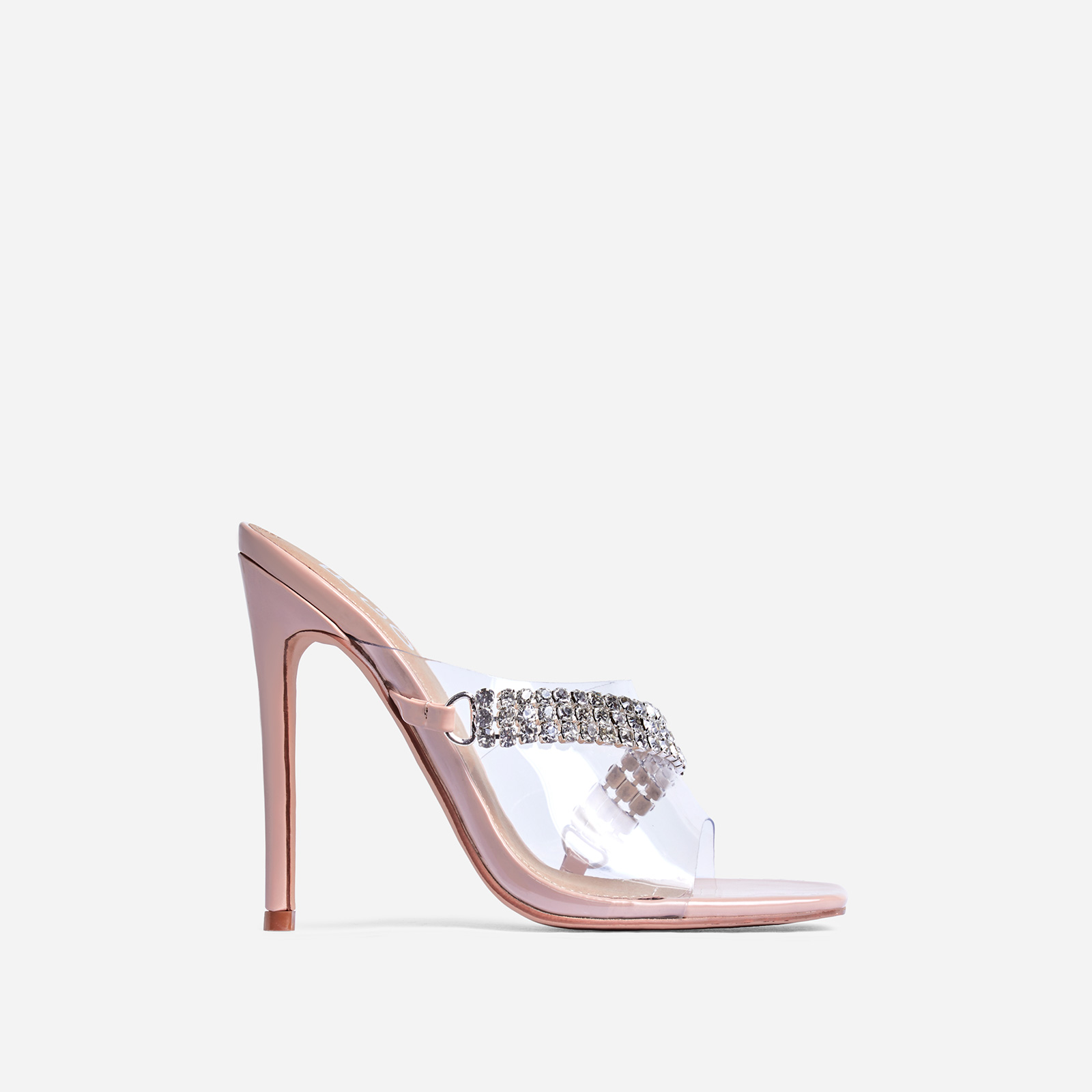 Peggy Diamante Detail  Square Peep Toe Heel Mule In Nude Patent