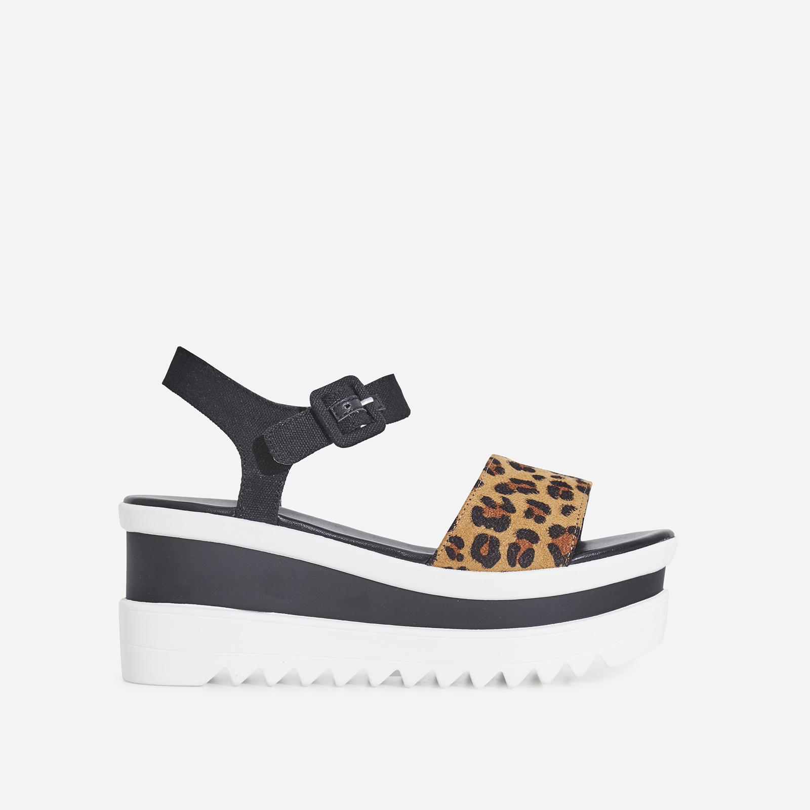 Perri Chunky Sole Sandal In Tan Leopard Print Faux Suede