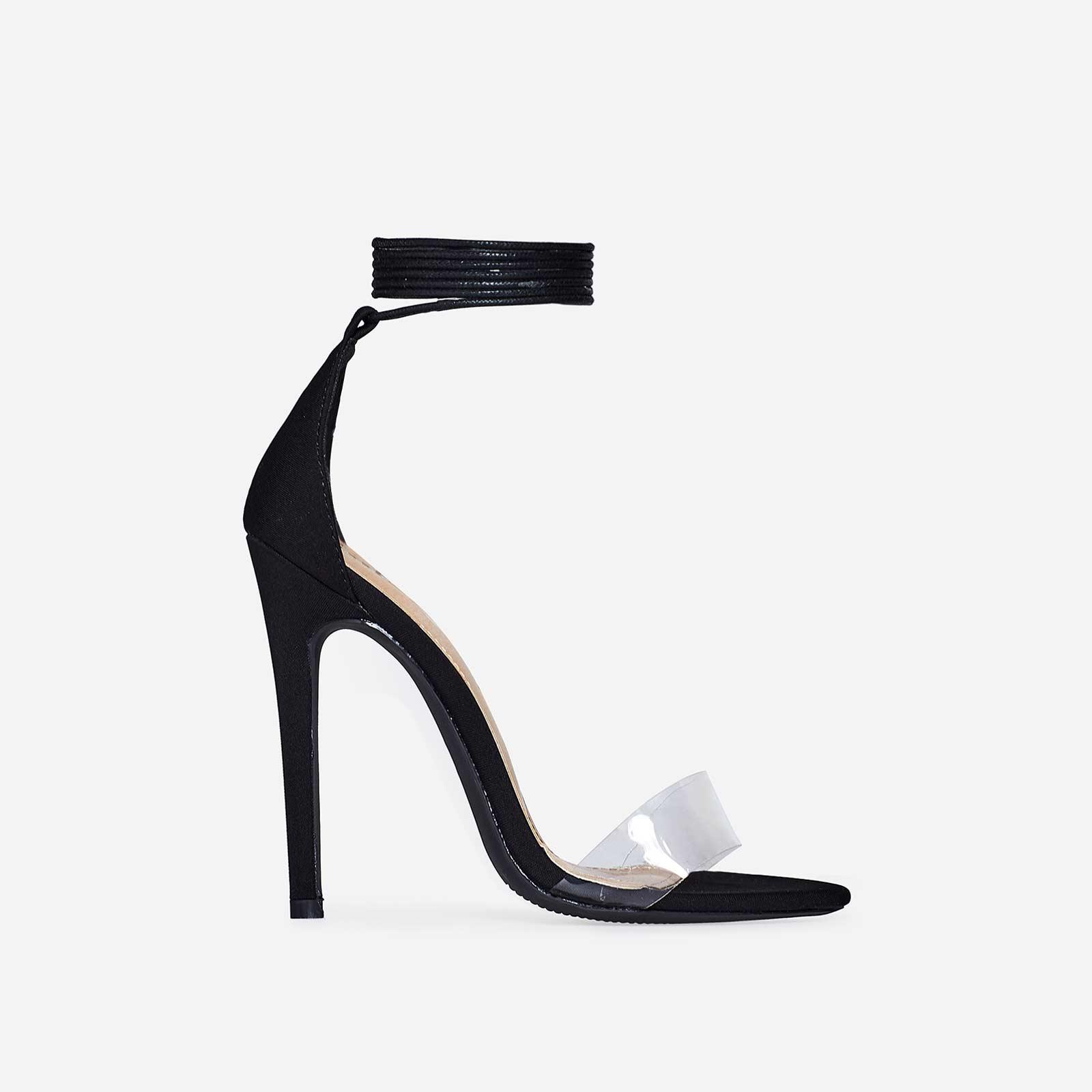 Perrie Lace Up Heel In Black Lycra