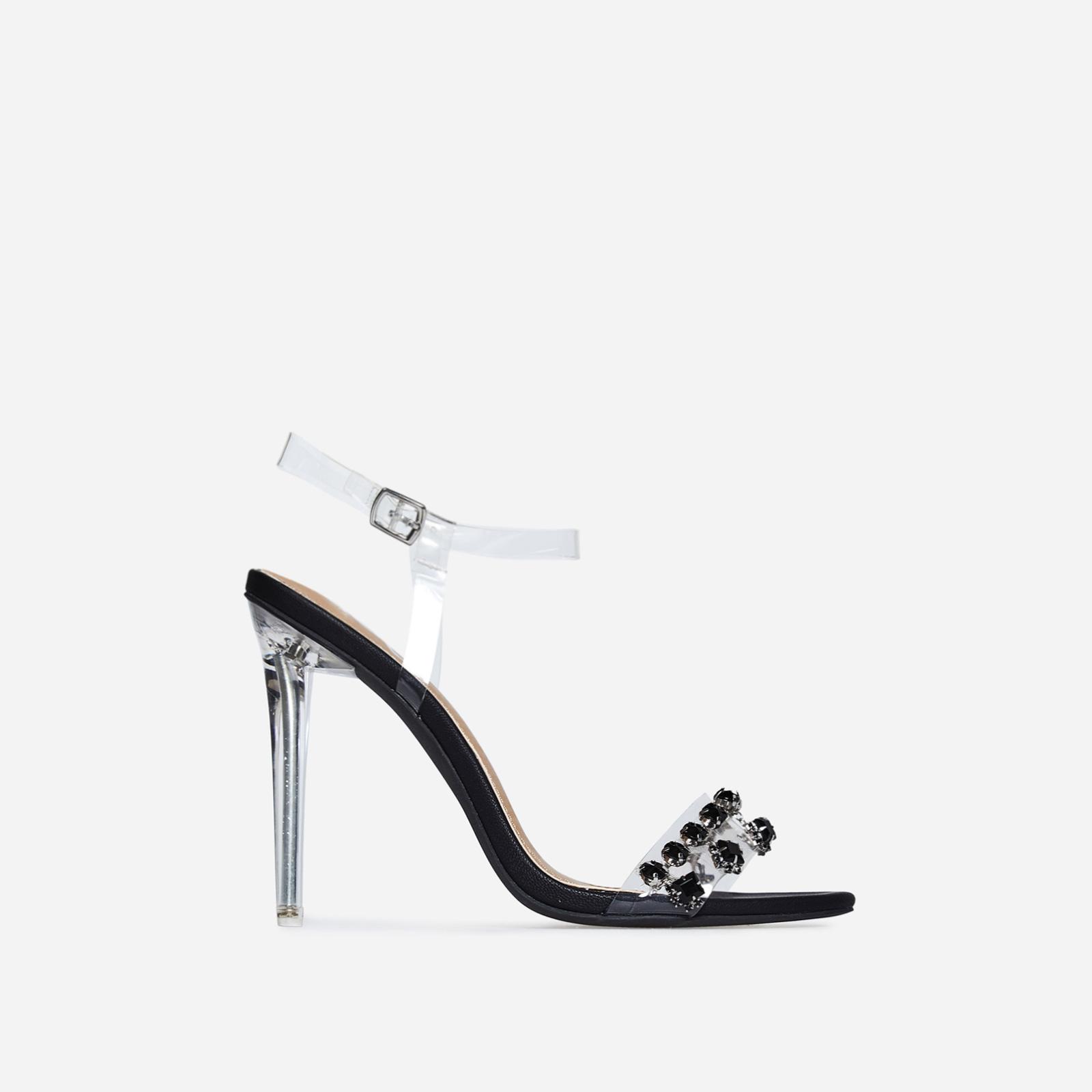 Peyton Jewel Embellished Perspex Heel In Black Faux Leather