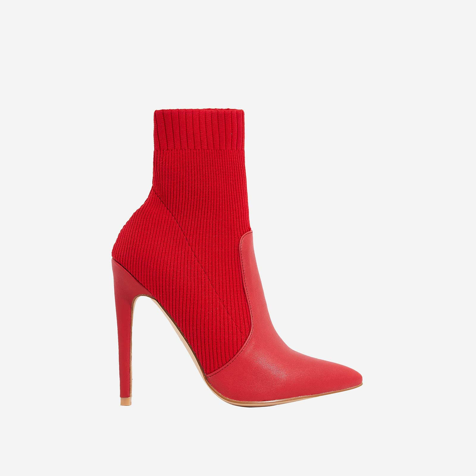 Phoenix Knitted Sock Boot In Red Faux Leather