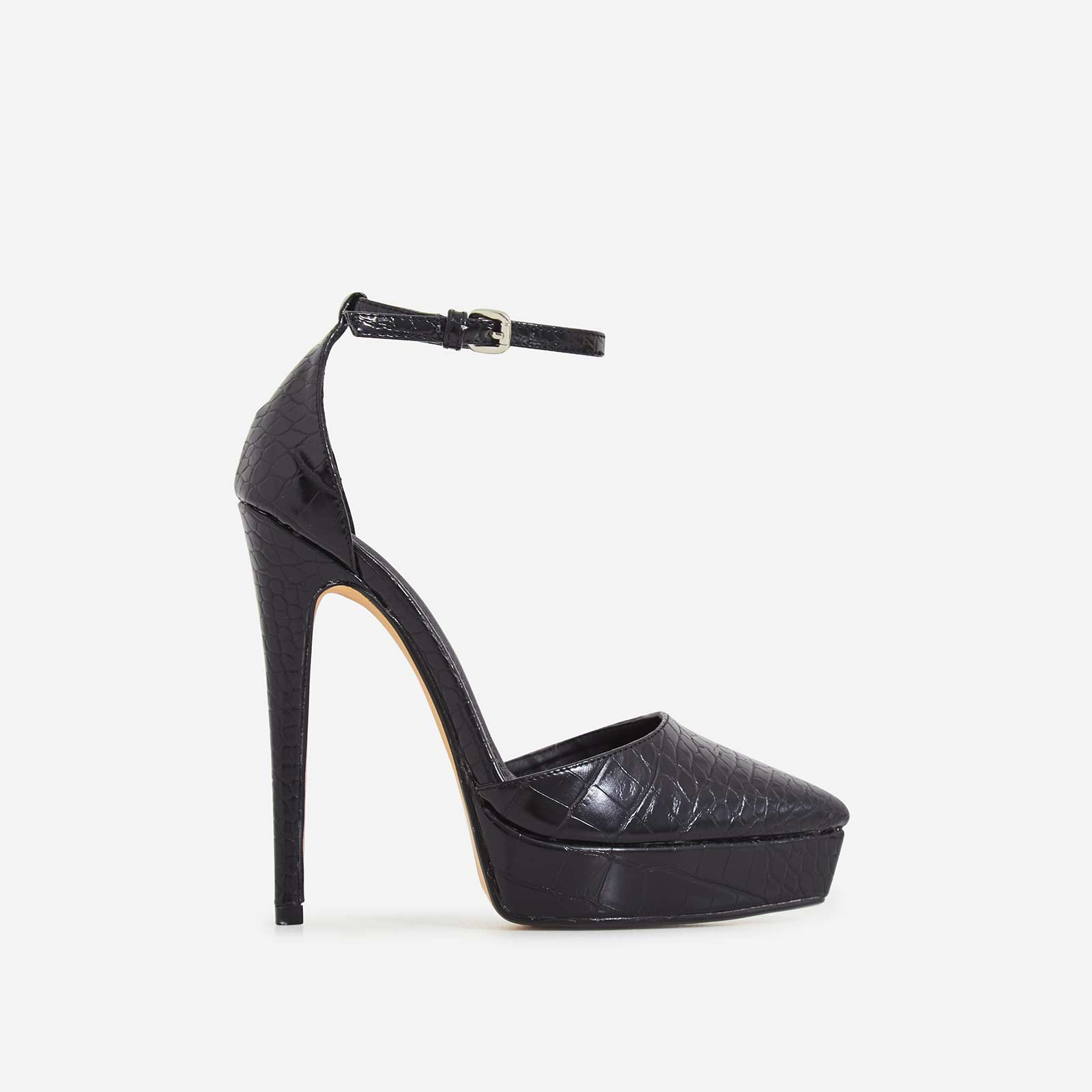 Pleasure Platform Pointed Toe Heel In Black Croc Print Faux Leather