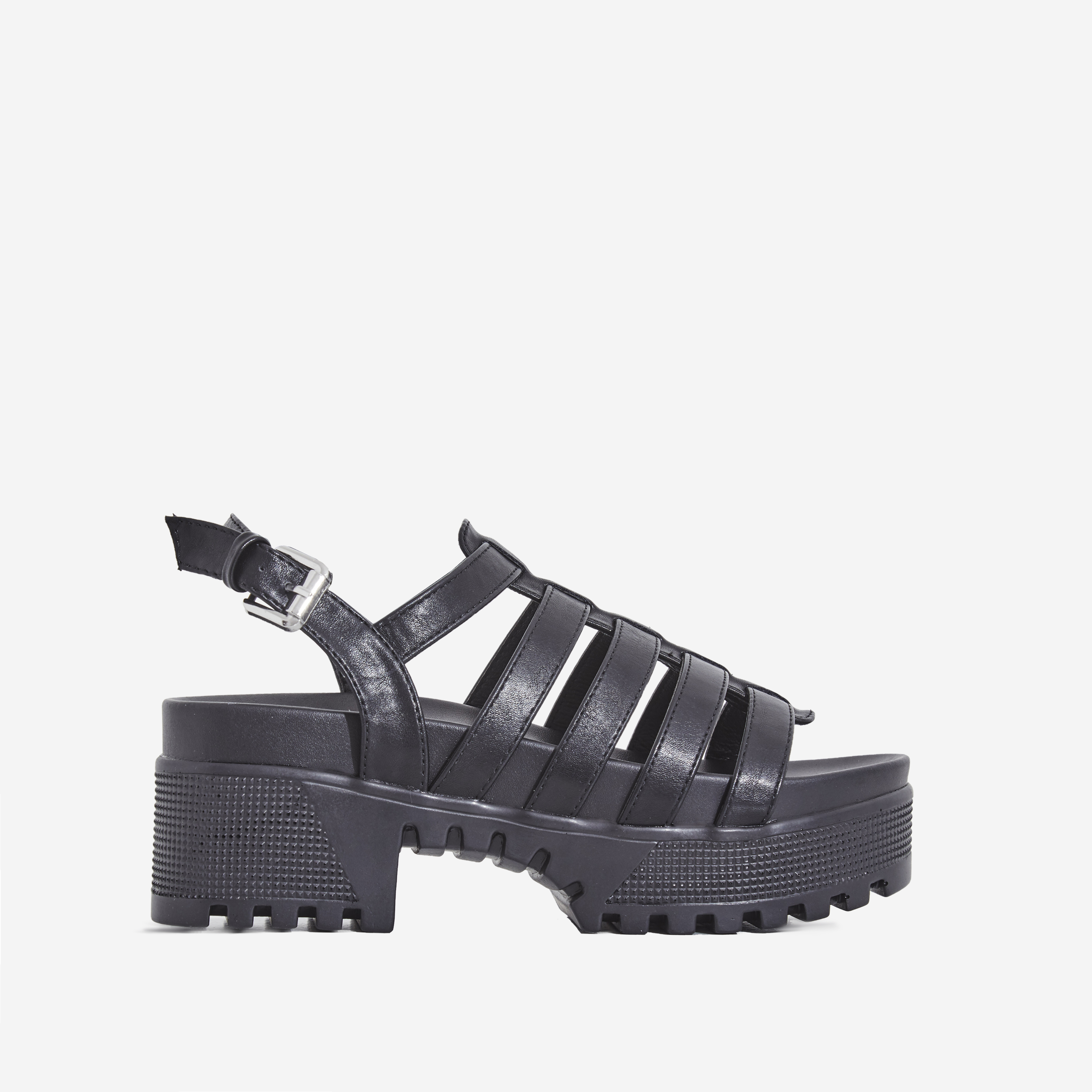 Poker Chunky Sole Sandal In Black Faux Leather