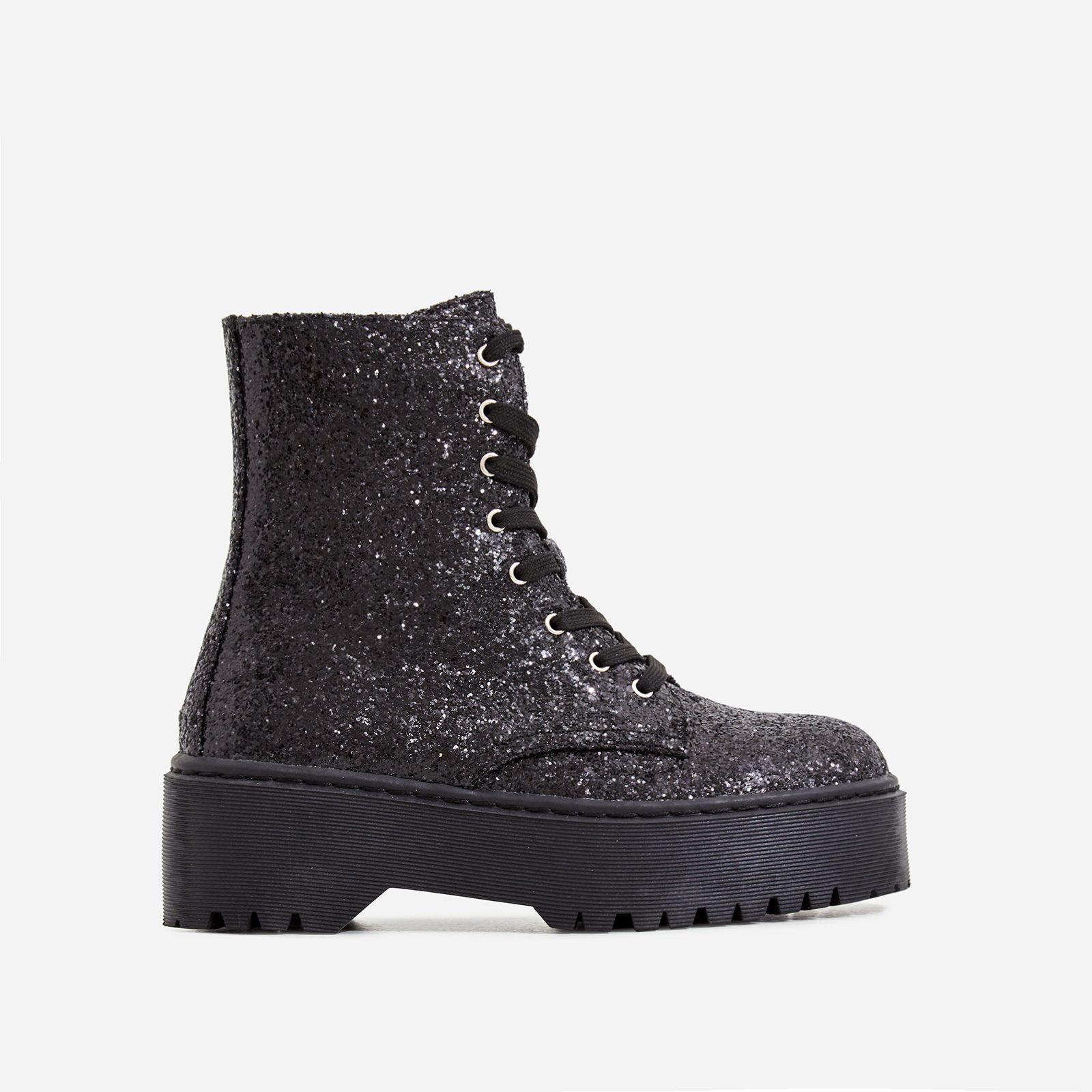 Poppin Lace Up Ankle Biker Boot In Black Glitter