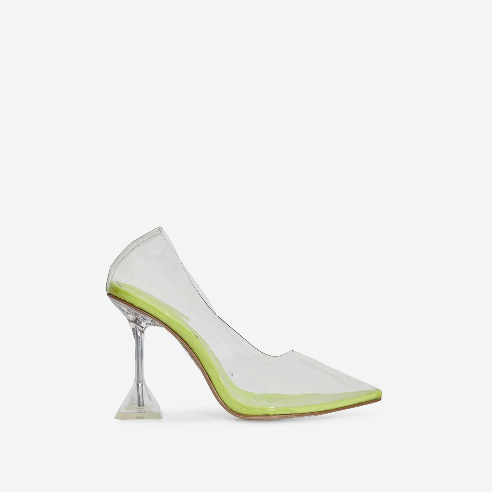 Pounce Perspex Court Heel In Lime Green Patent