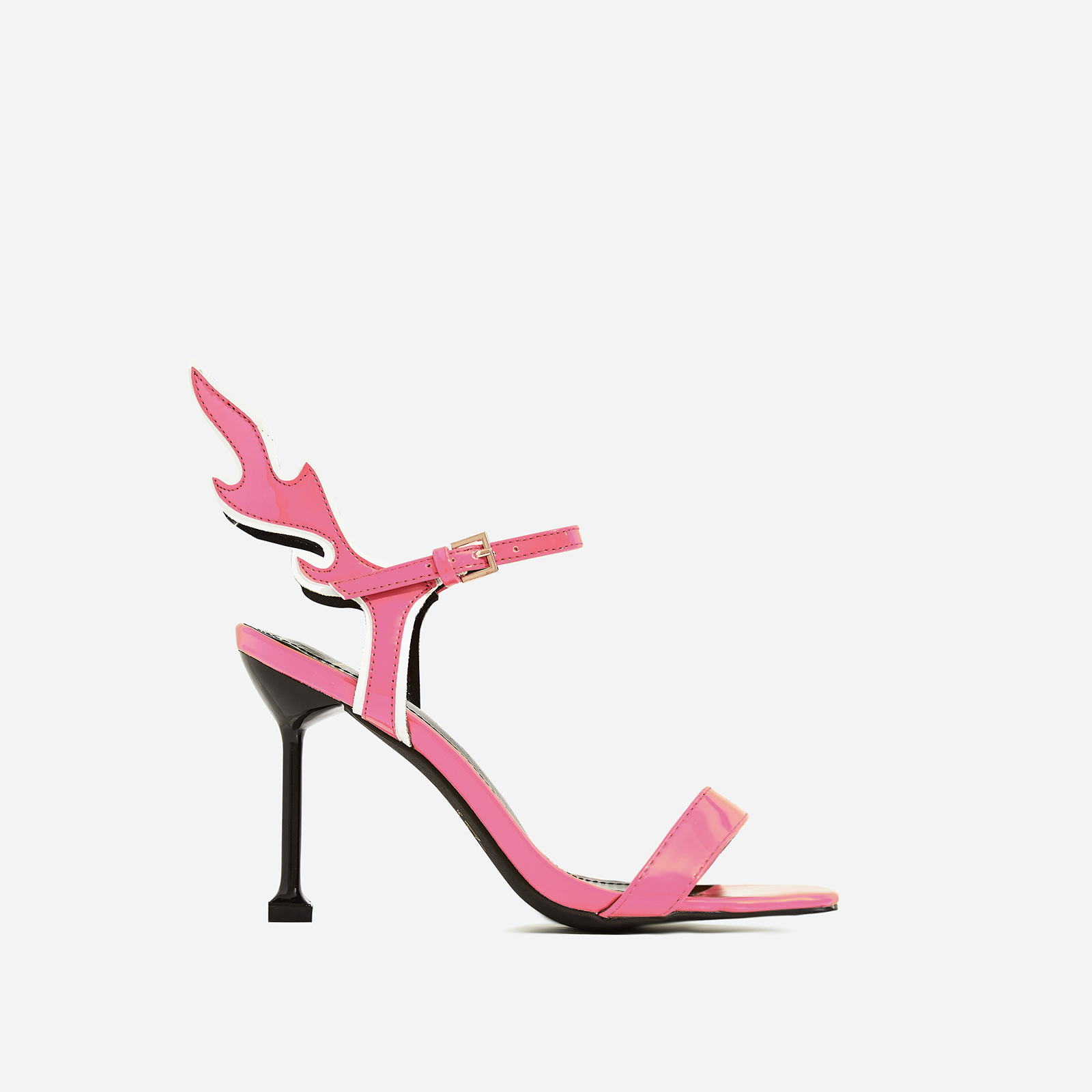 Iggy Flame Detail Heel In Pink Patent