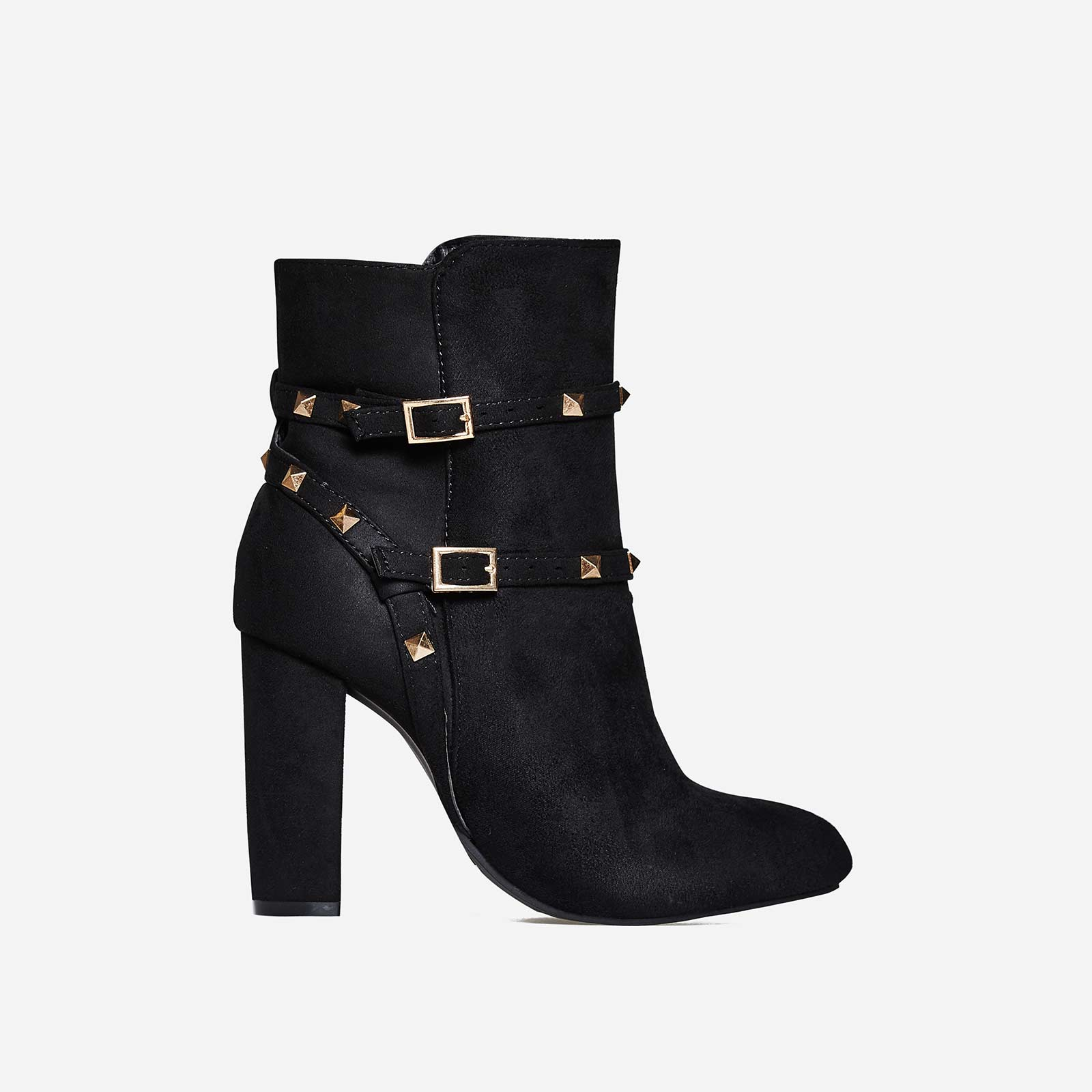 Miriam Studded Detail Ankle Boot In Black Faux Suede