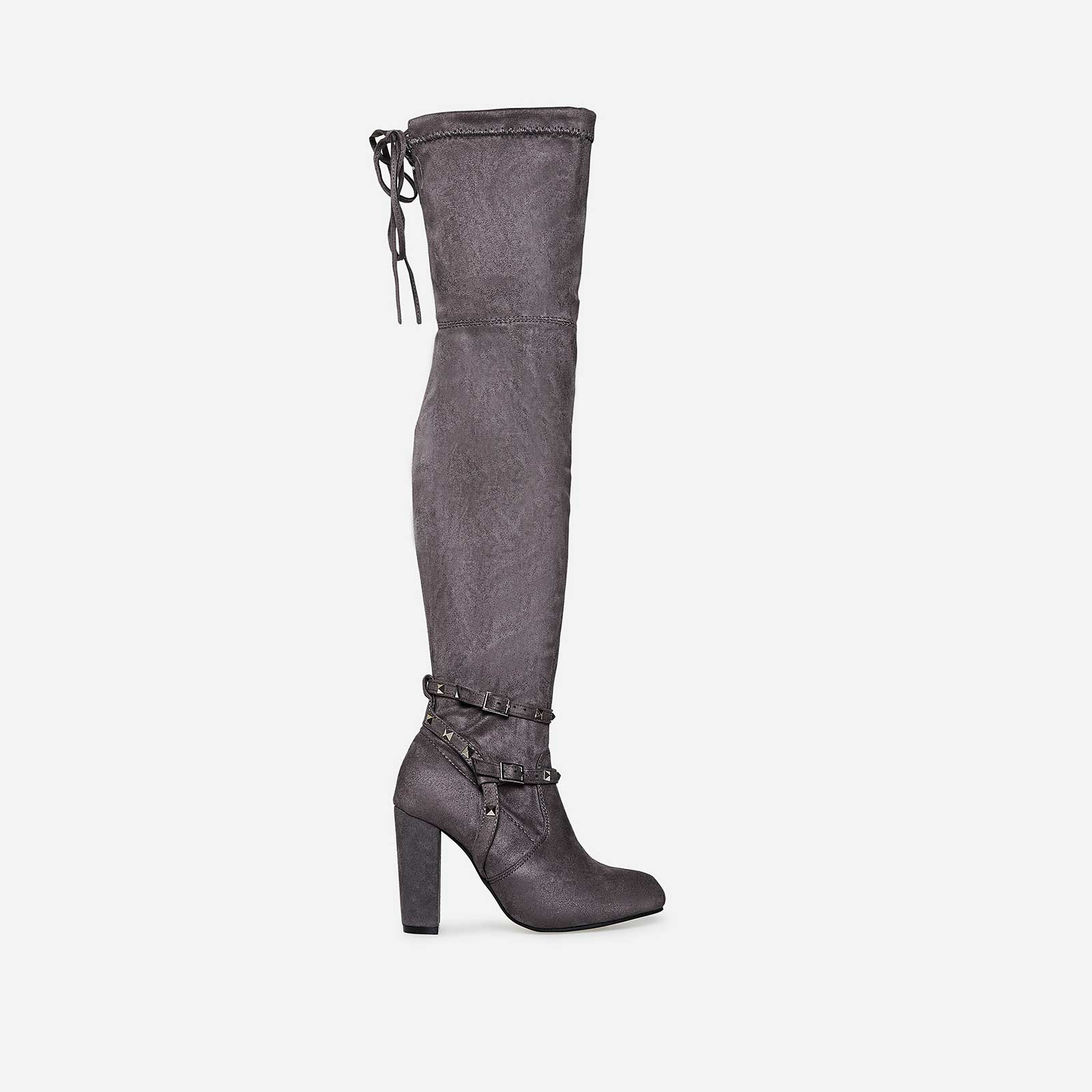 Bethany Studded Detail Long Boot In Light Grey Faux Suede
