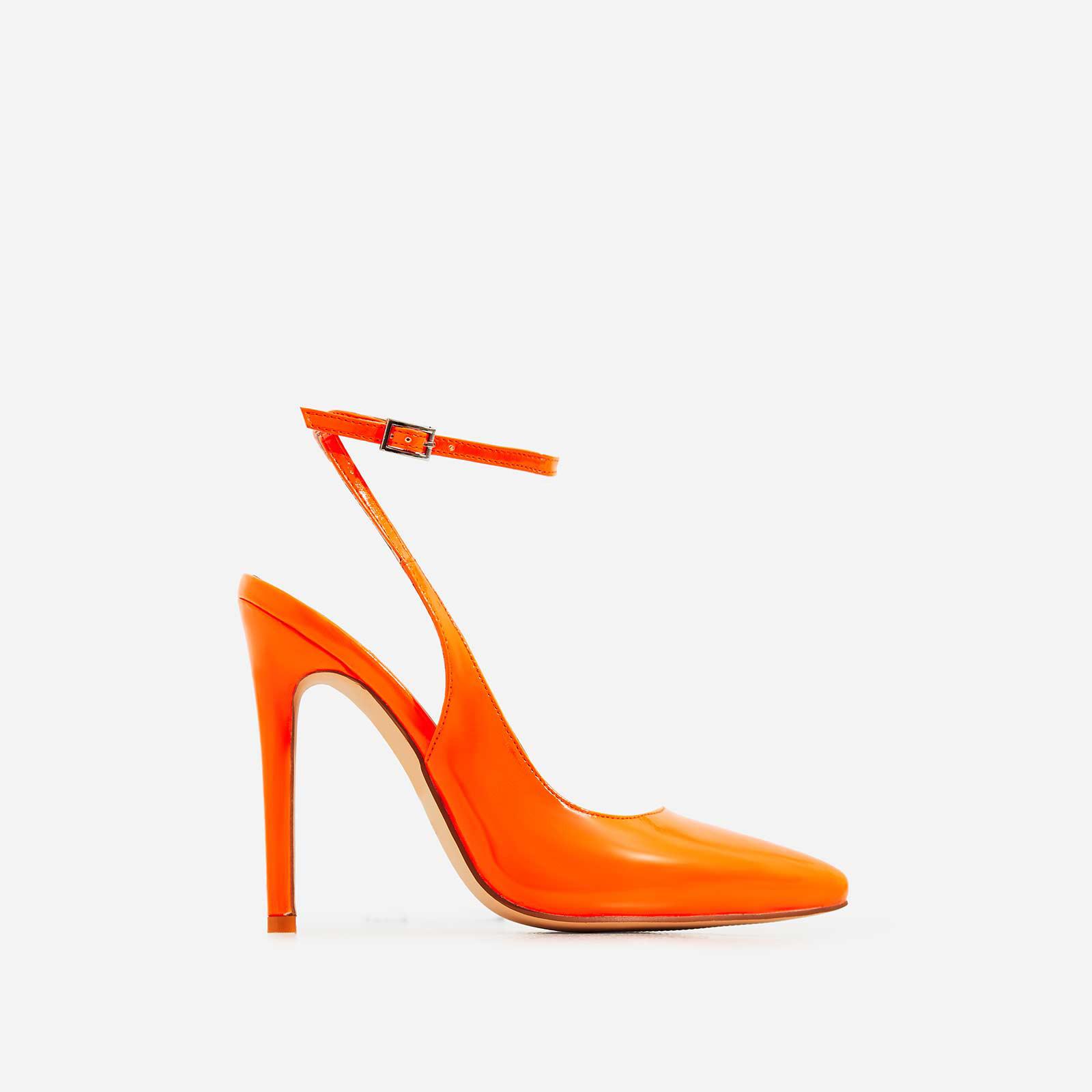 Raina Strappy Court Heel In Neon Orange Patent
