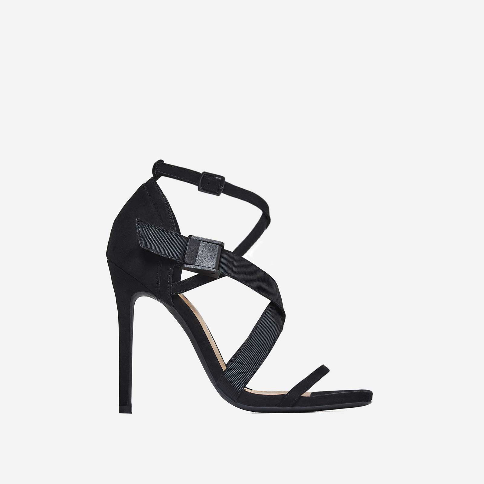 Rain Strappy Heel In Black Faux Suede