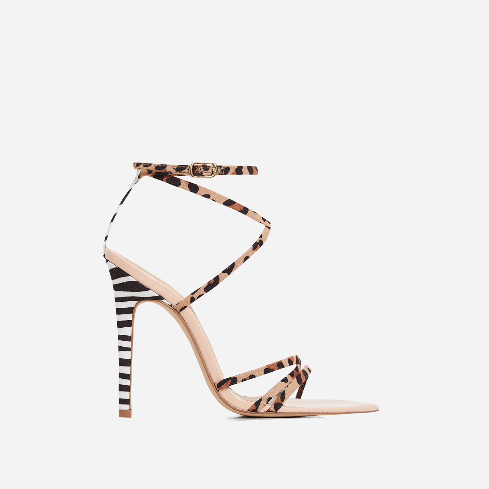 Raja Animal Print Pointed Barely There Heel In Nude Patent