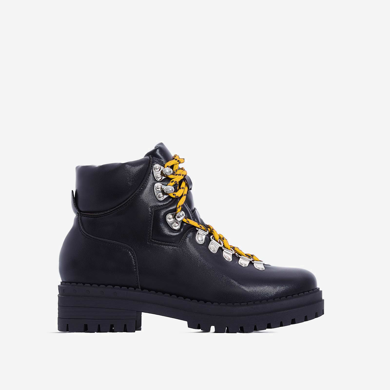 Raya Yellow Lace Up Ankle Biker Boot In Black Faux Leather