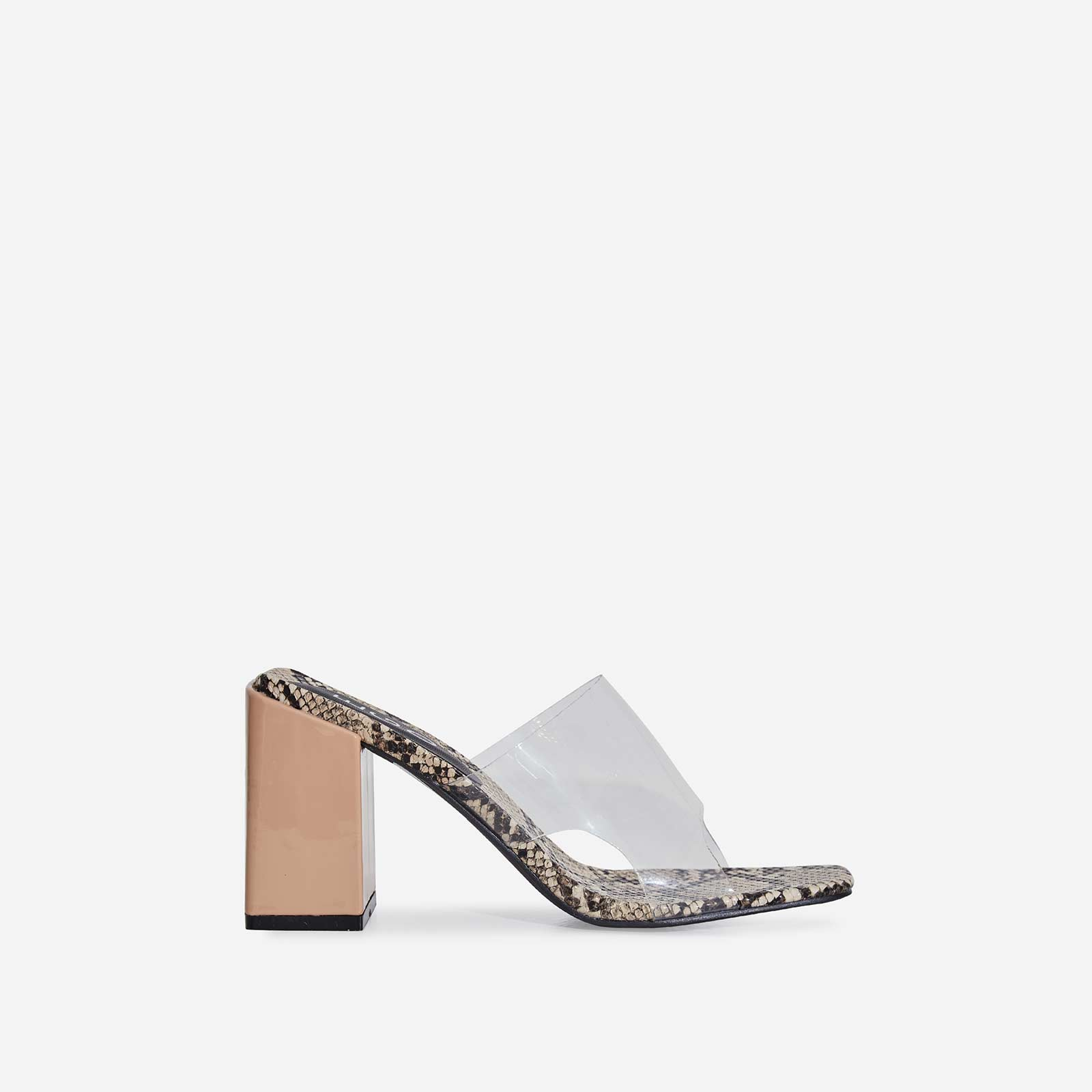 Reaction Perspex Peep Toe Midi Block Heel Nude Snake Print Faux Leather