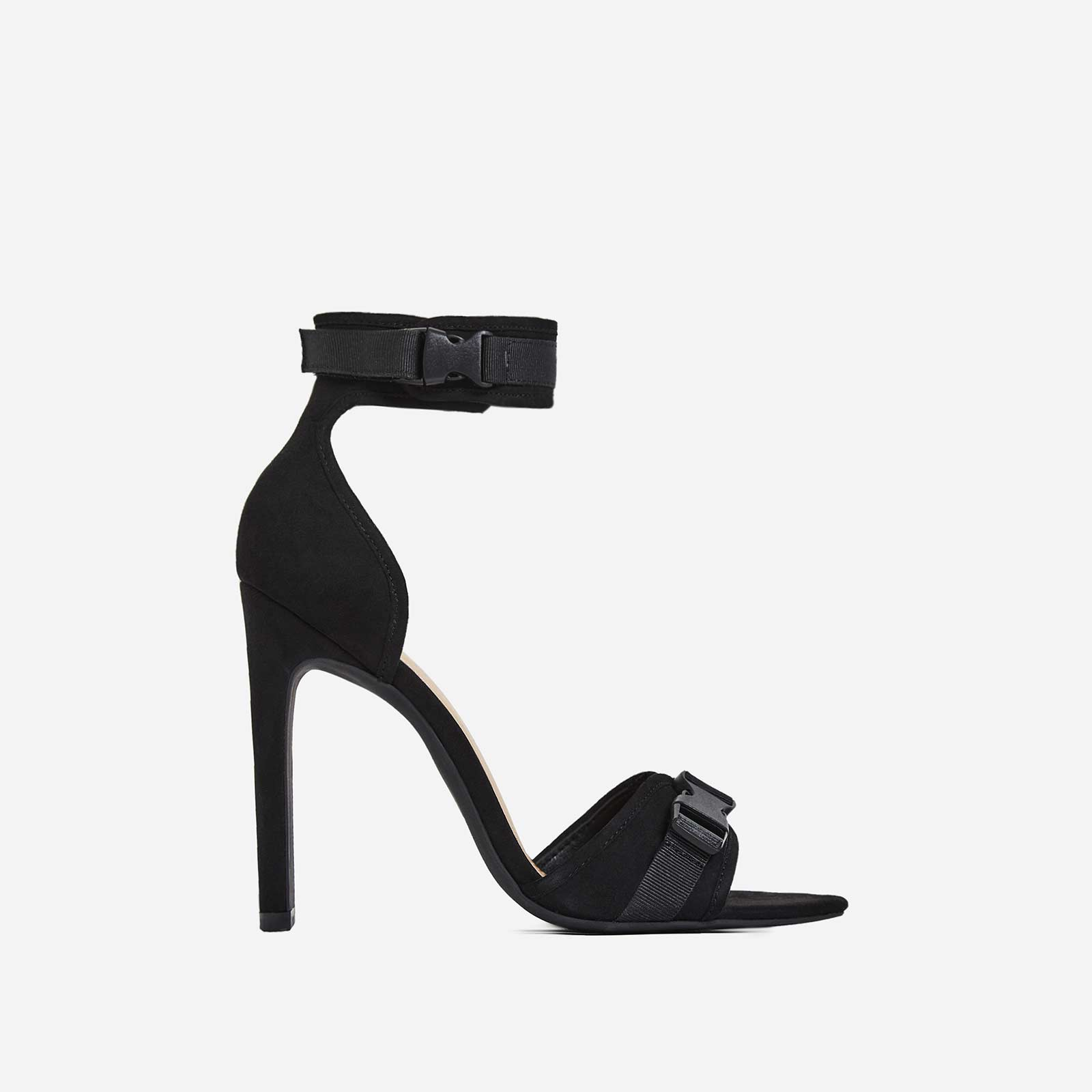 Remy Buckle Detail Heel In Black Faux Suede