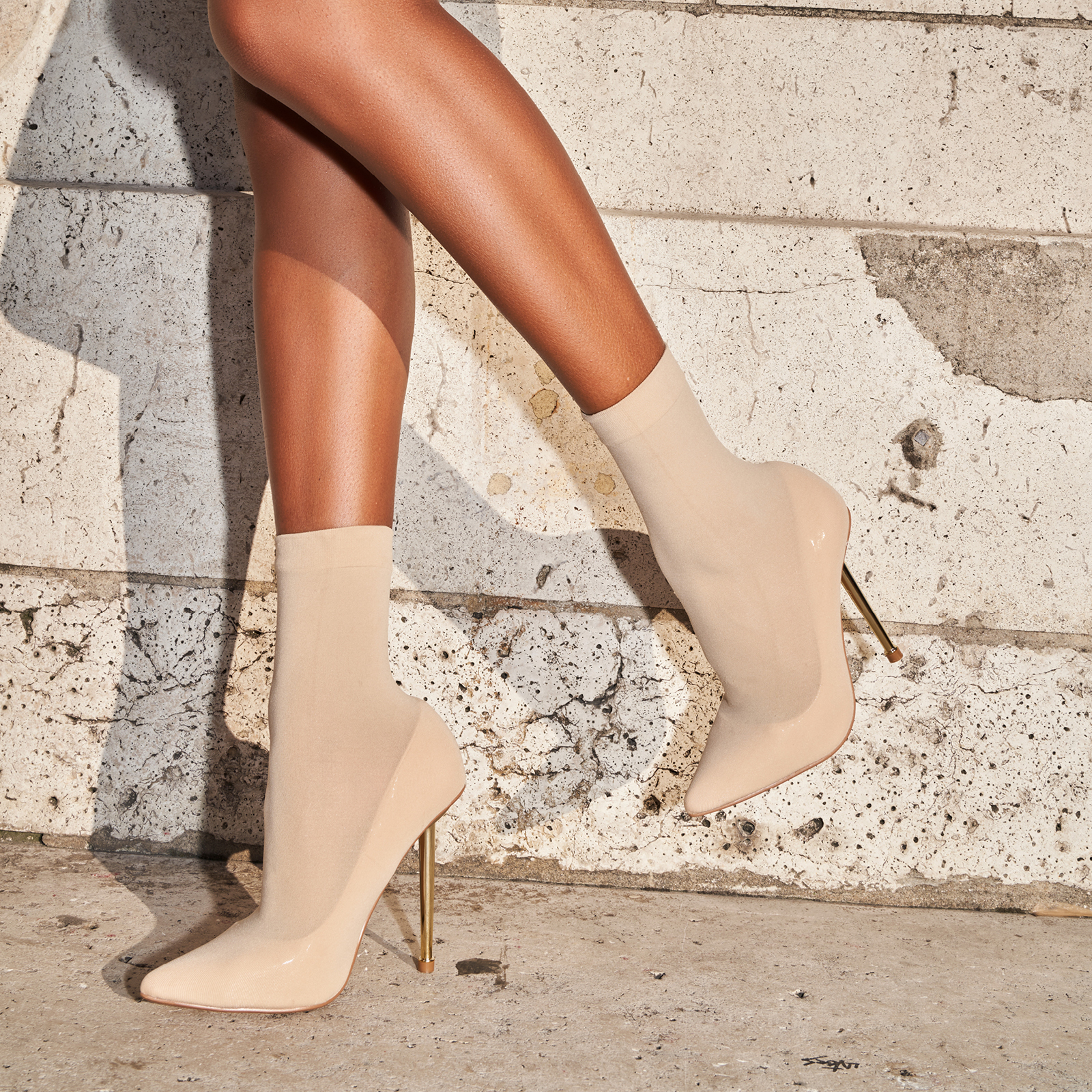 Jade Ankle Sock Boot In Nude Knit