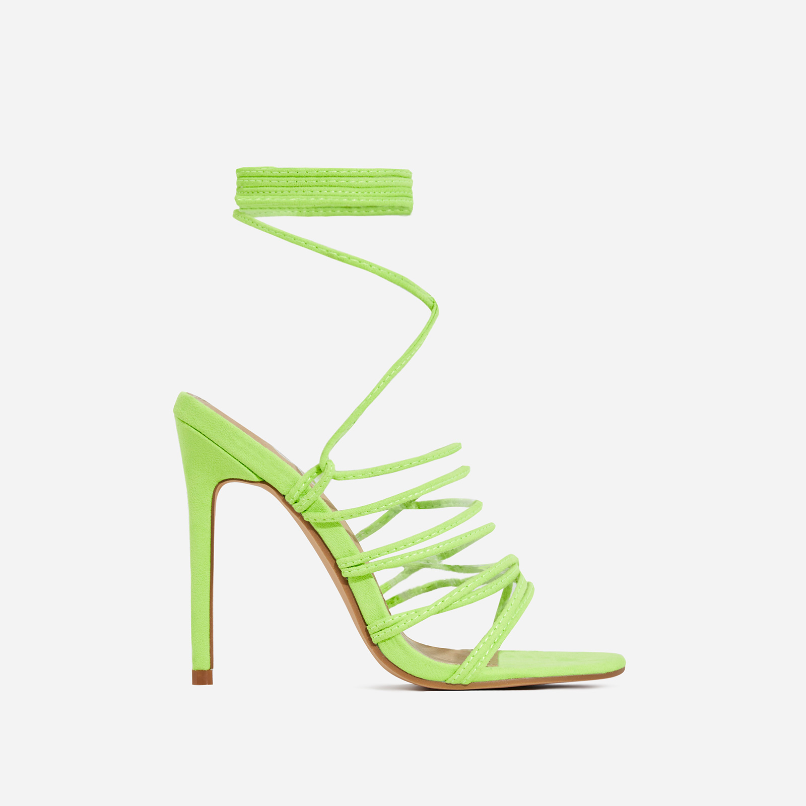 Revel Lace Up Square Toe Heel In Lime Green Faux Suede