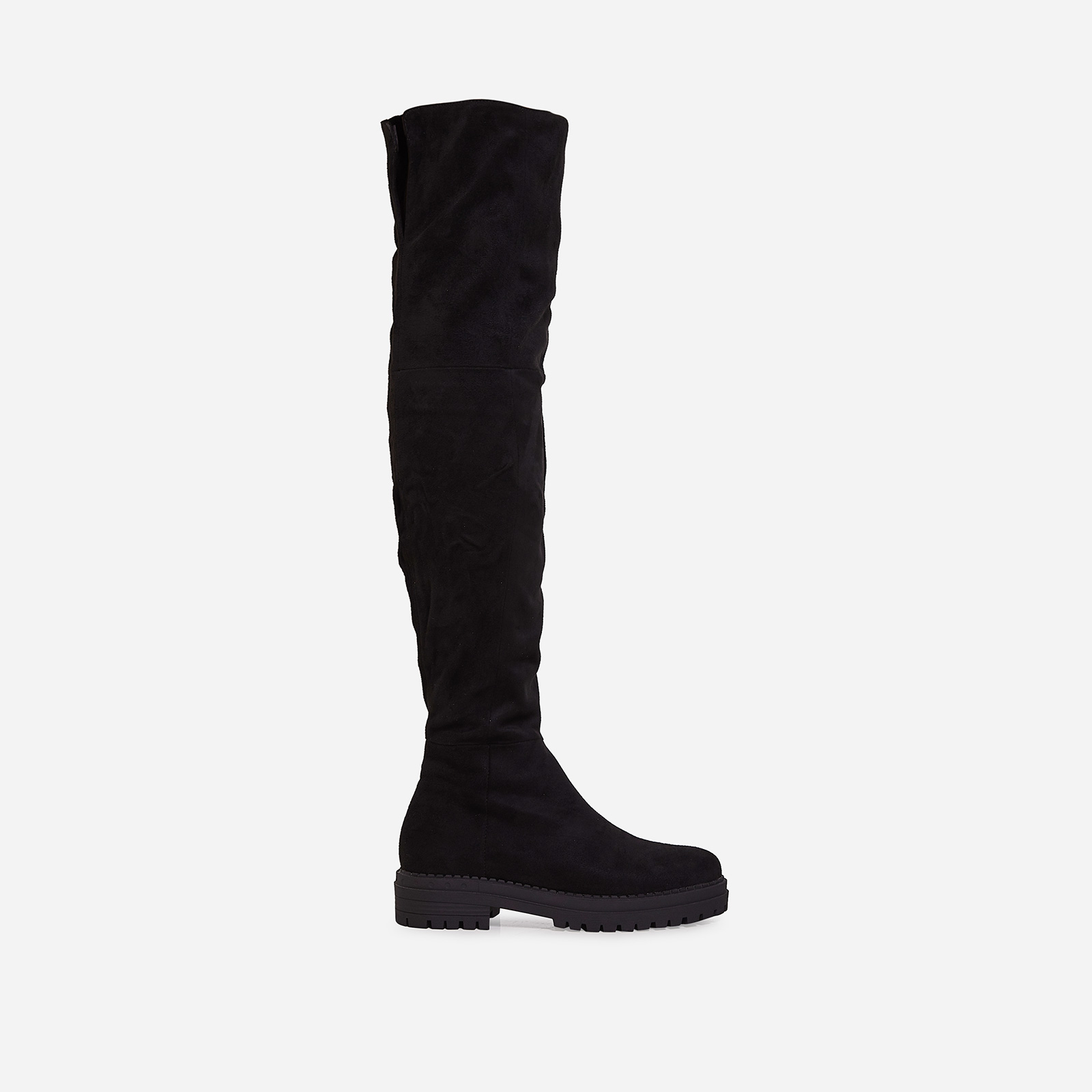 Rhi Over The Knee Long Boot In Black Faux Suede