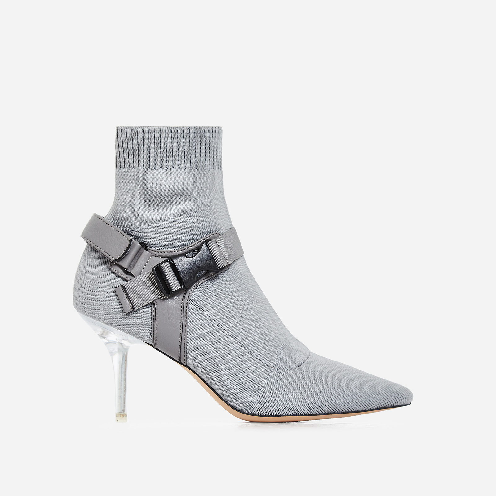 Rhian Perspex Buckle Detail Ankle Sock Boot In Grey Knit