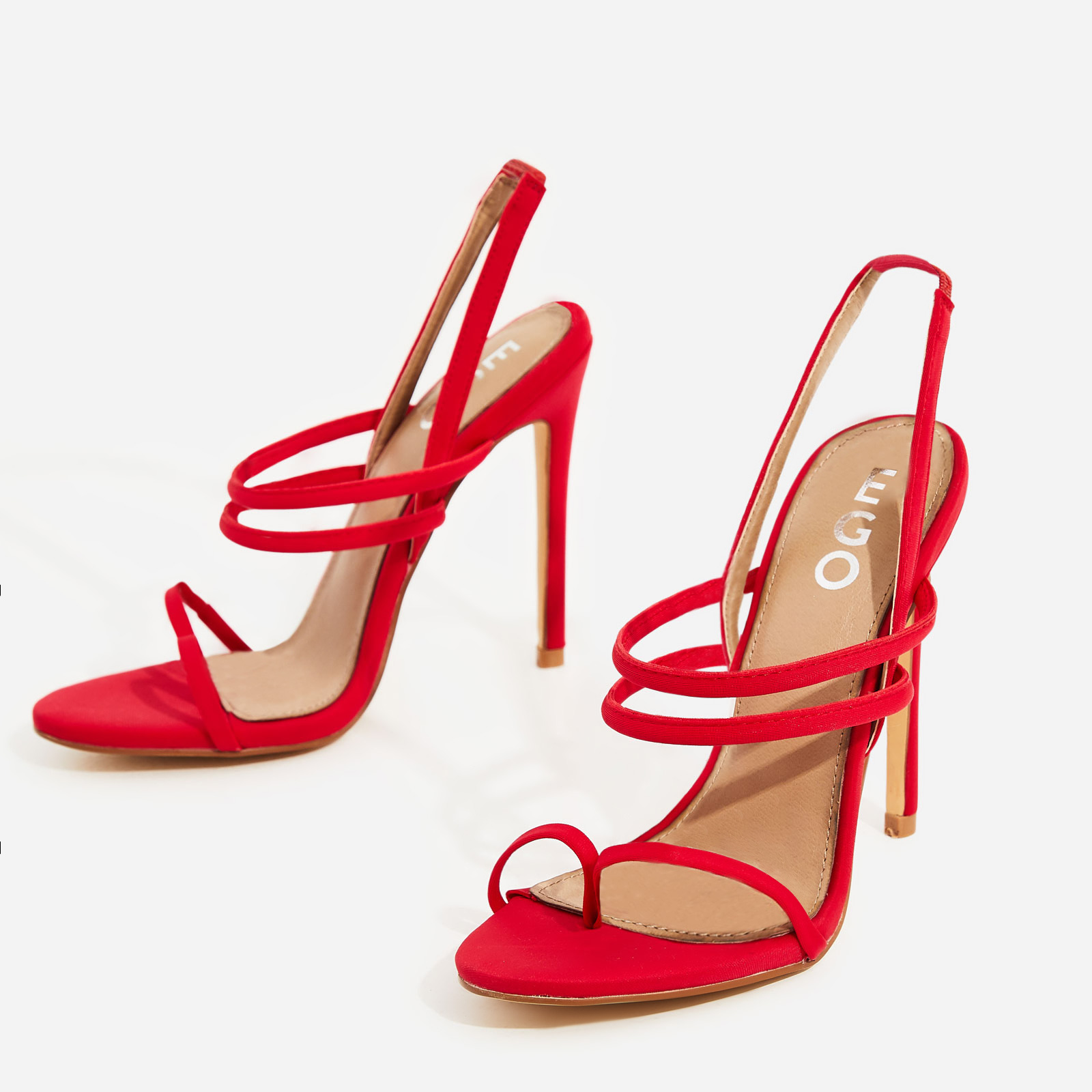 Rhia Strappy Toe Post Heel In Red Lycra