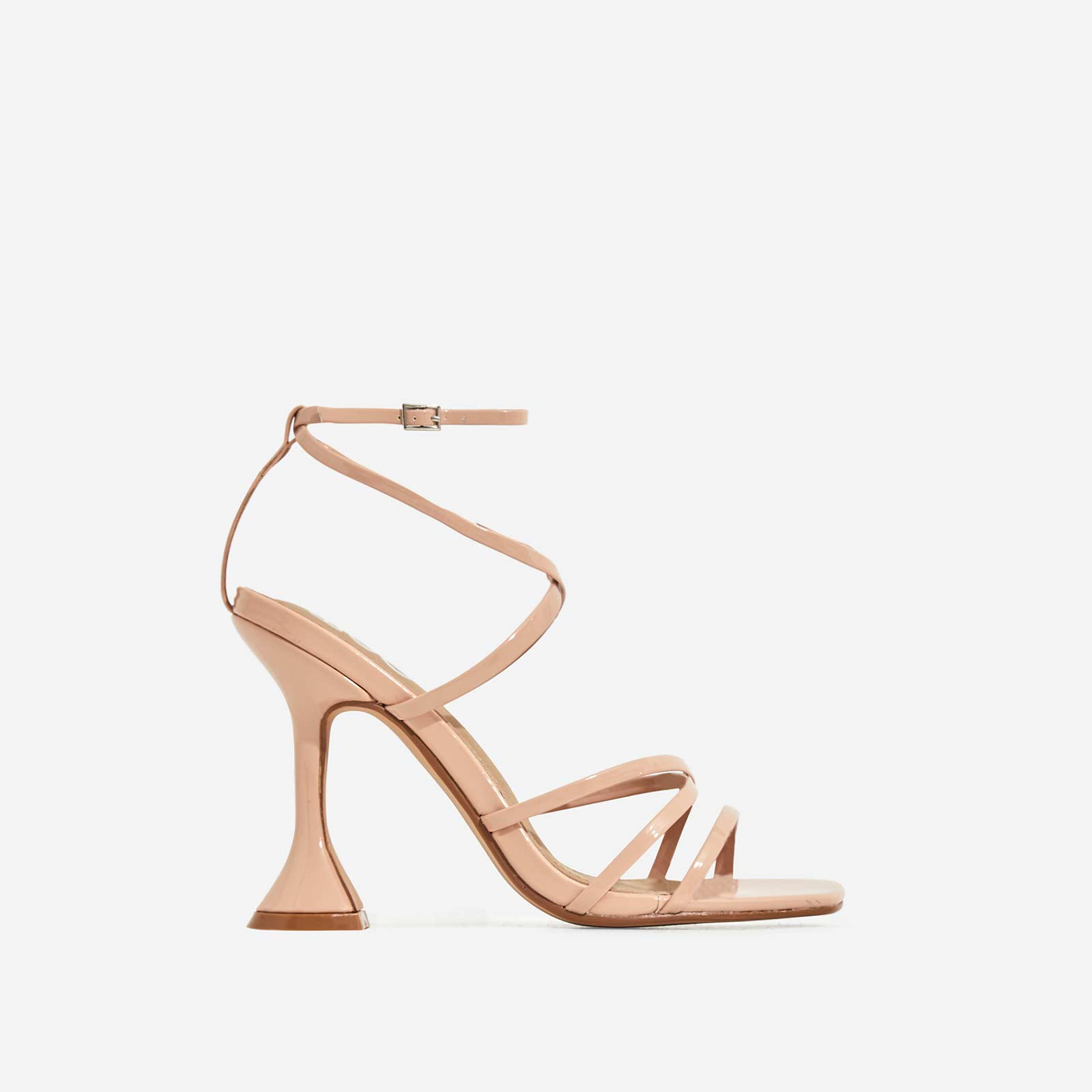 Richie Square Toe Heel In Nude Patent