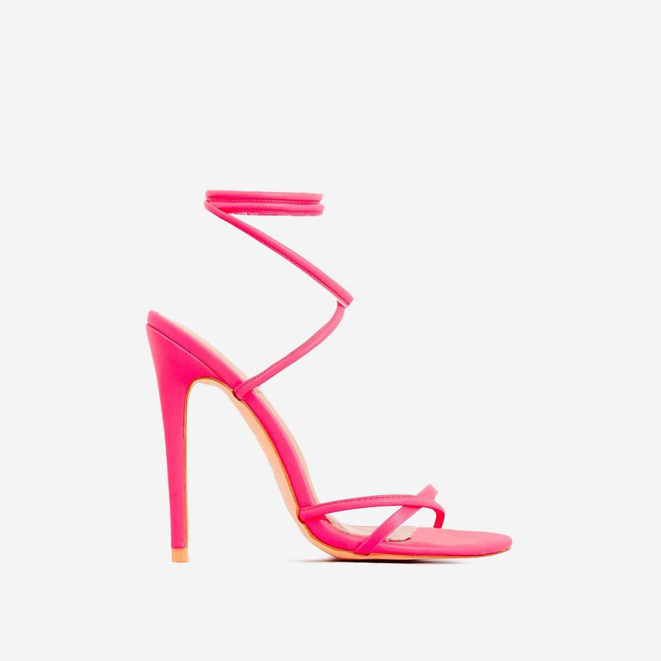Rochelle Lace Up Barely There Heel In Neon Pink Faux Leather
