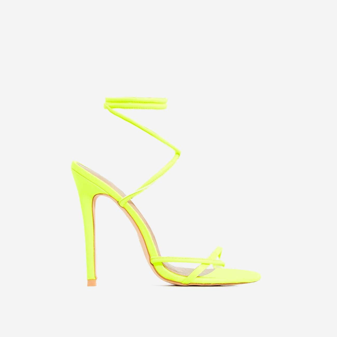 Rochelle Lace Up Barely There Heel In Neon Yellow Faux Leather