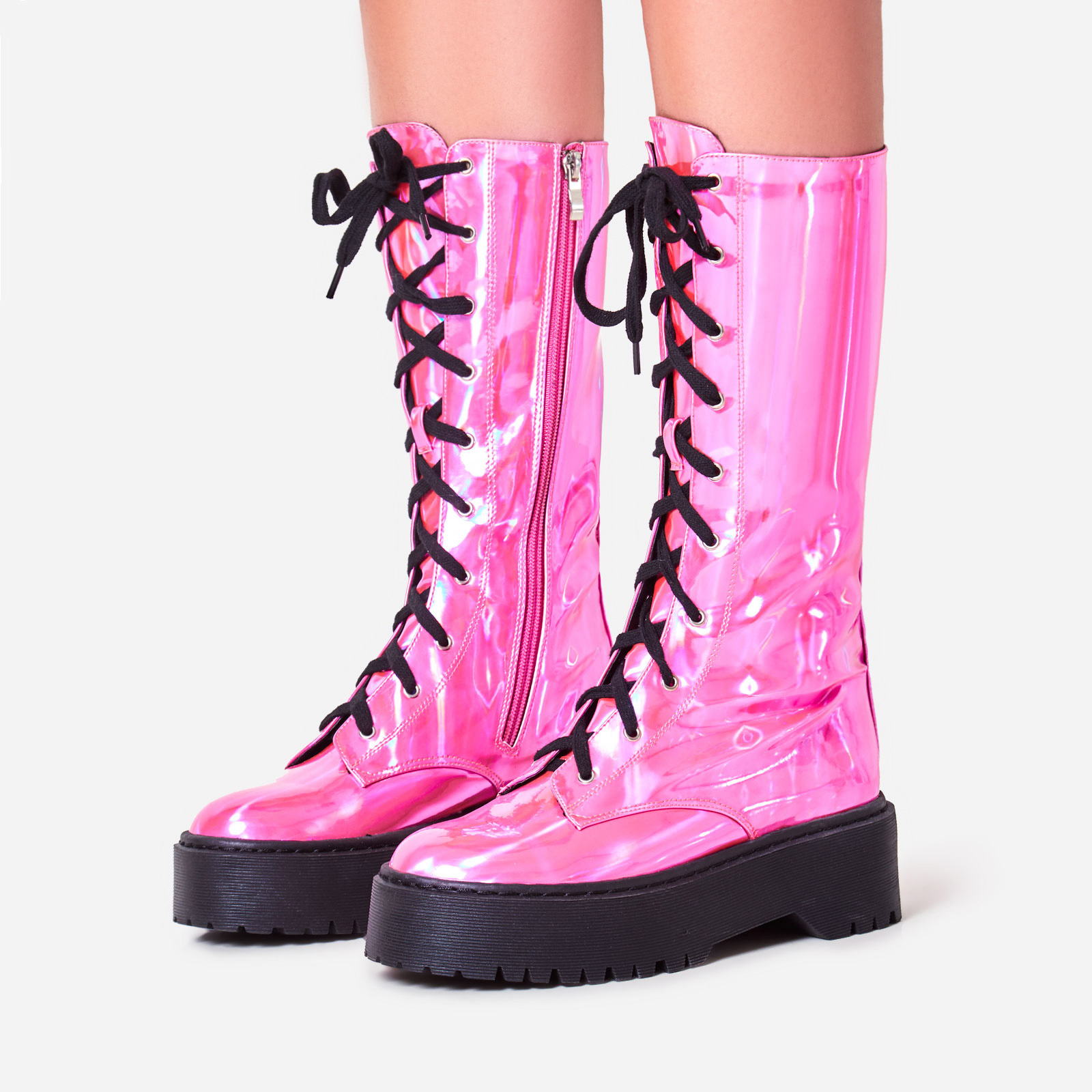 Tribeca Knee High Lace Up Ankle Biker Boot In Pink Holographic Faux Leather