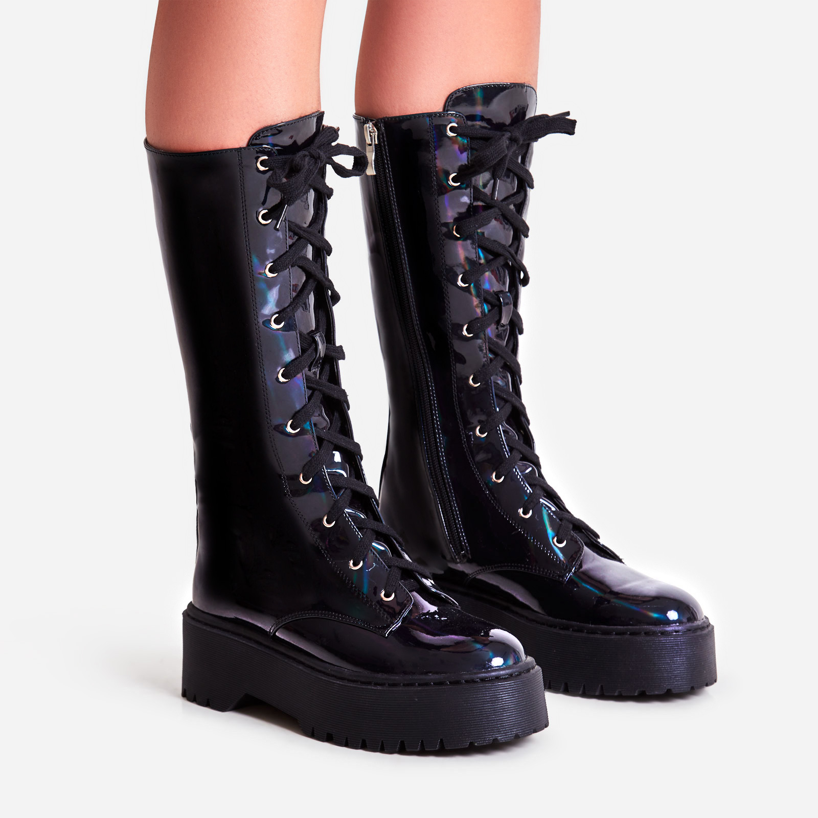 Tribeca Knee High Lace Up Ankle Biker Boot In Black Holographic Faux Leather