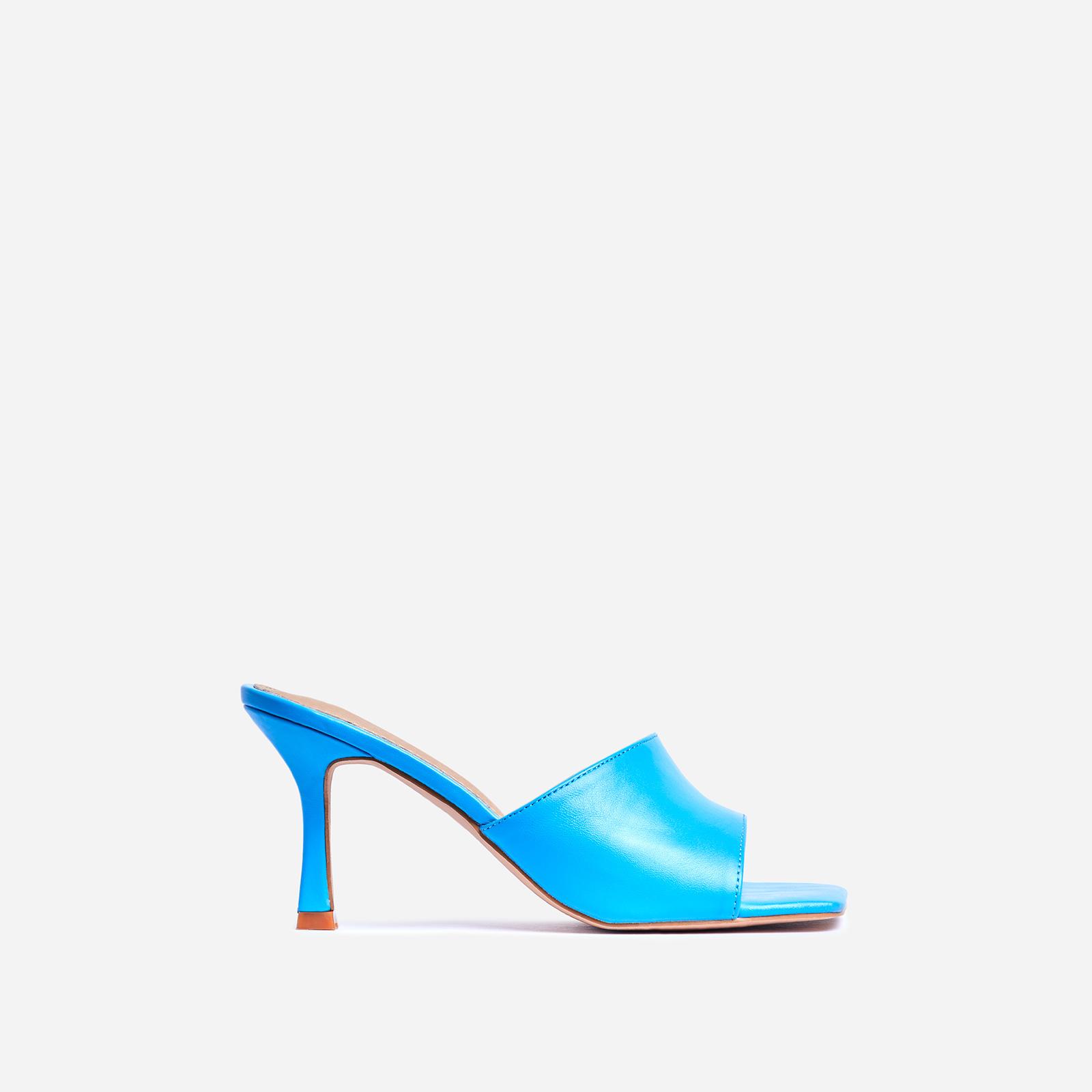 Hilton Square Peep Toe Kitten Heel Mule In Blue Faux Leather