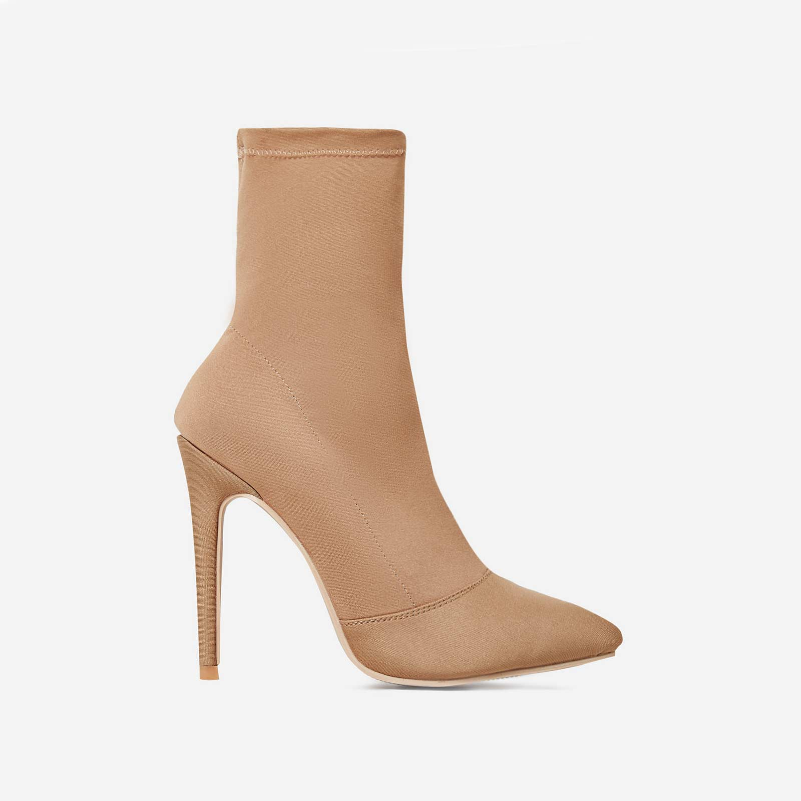 Rolo Pointed Toe Sock Boot In Nude Lycra