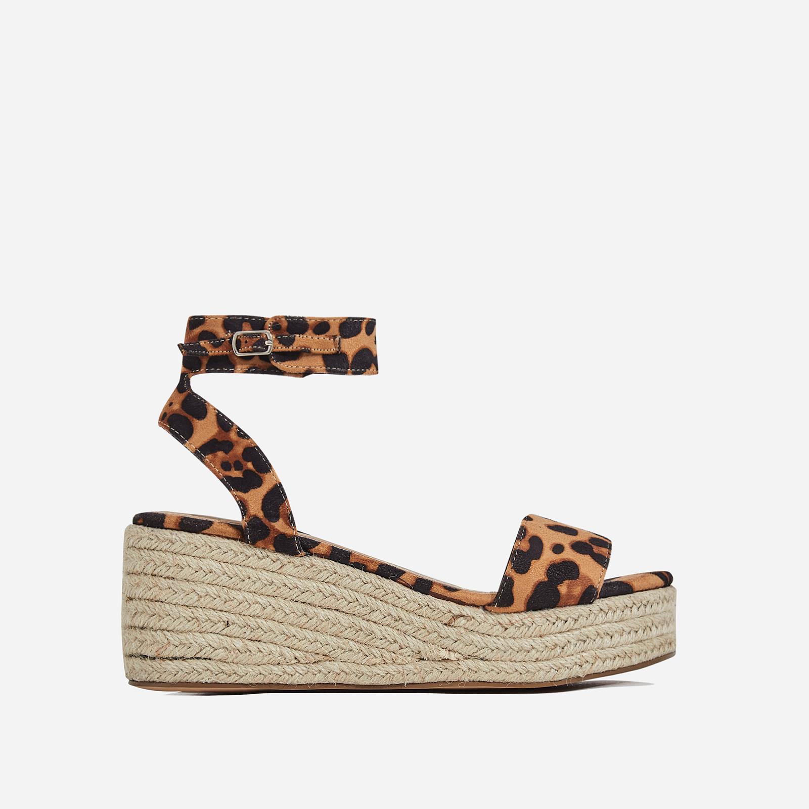 Rossi Espadrille Sandal In Tan Leopard Faux Suede