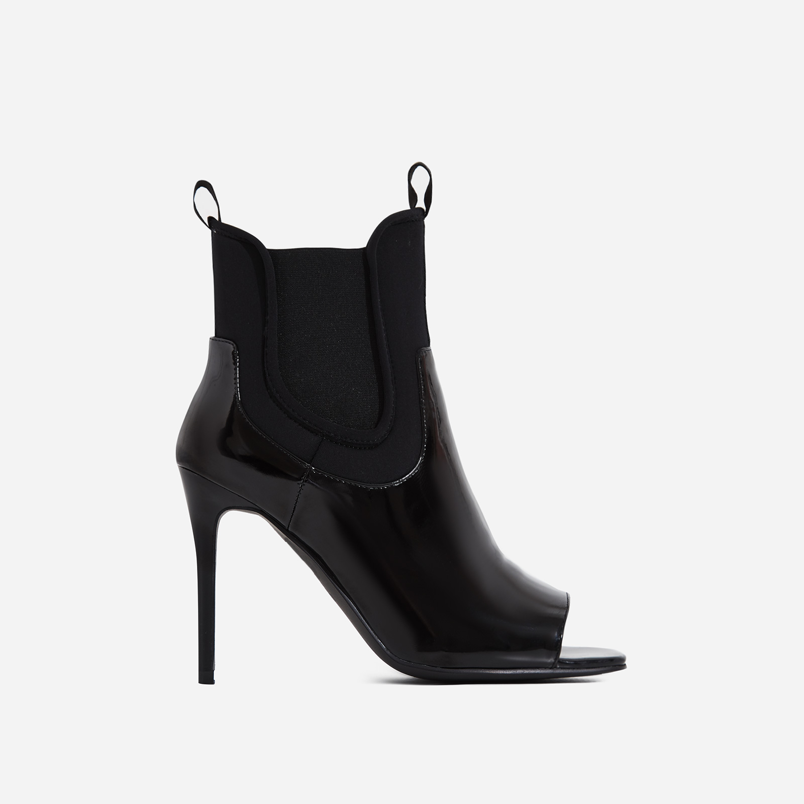 Rouge Black Lycra Trim Peep Toe Ankle Sock Boot In Black Patent