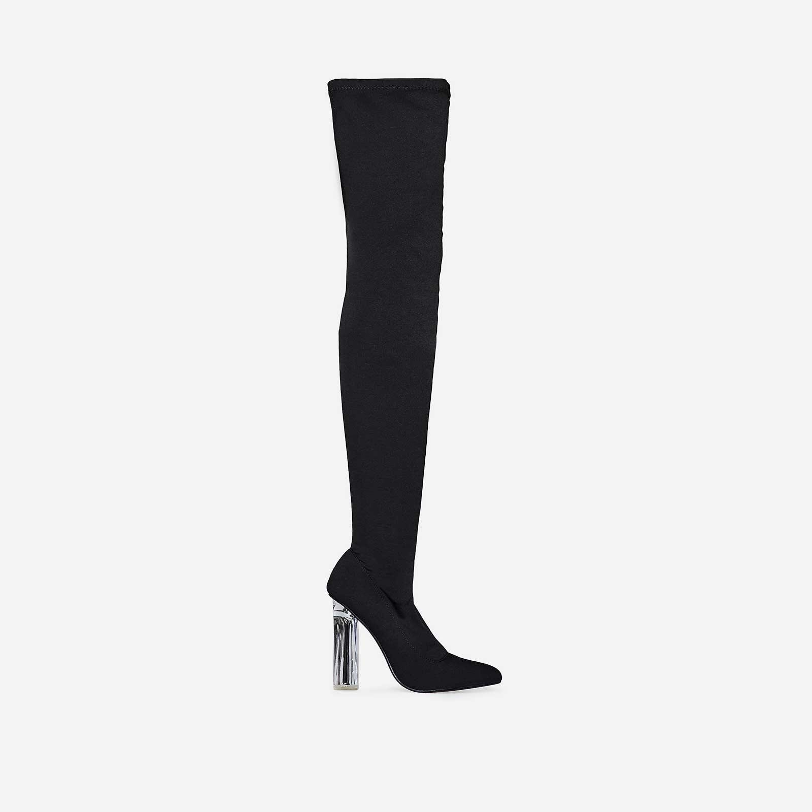 Carlyle Perspex Heel Over The Knee Long Boot In Black Lycra