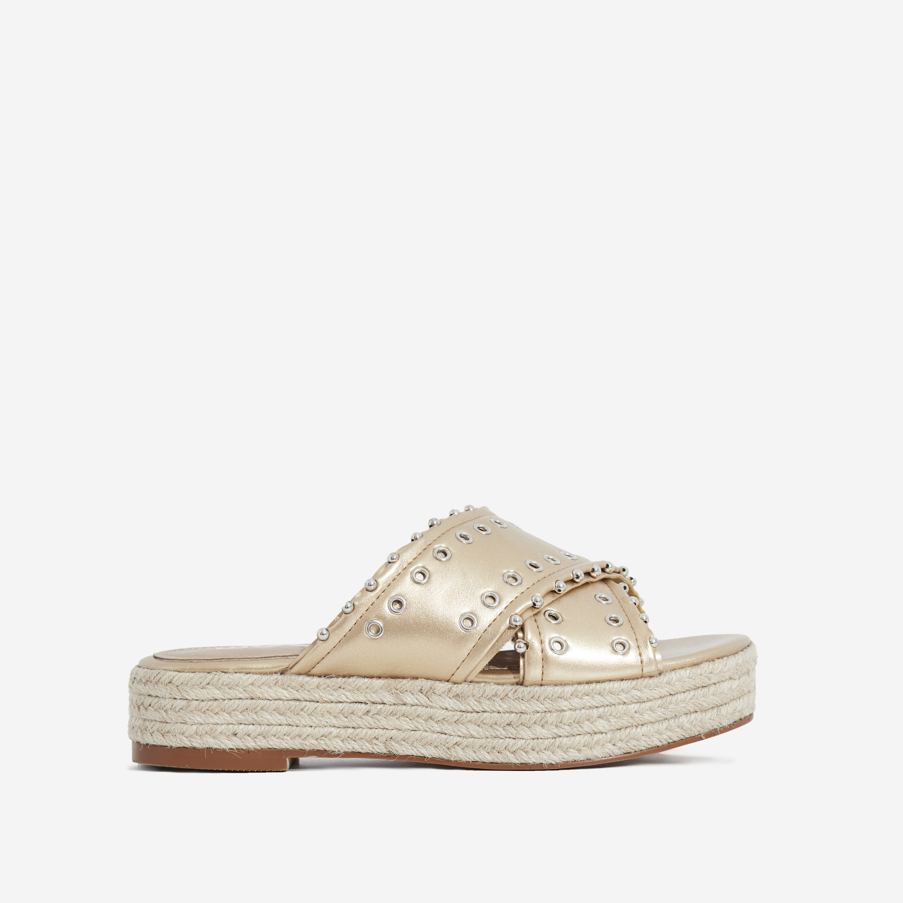 Salina Studded Crossover Strap Espadrille Sandal In Rose Gold Faux Leather