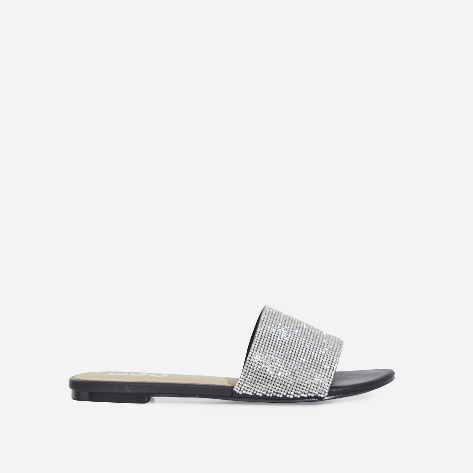Samaya Diamante Detail Slider In Black Faux Leather