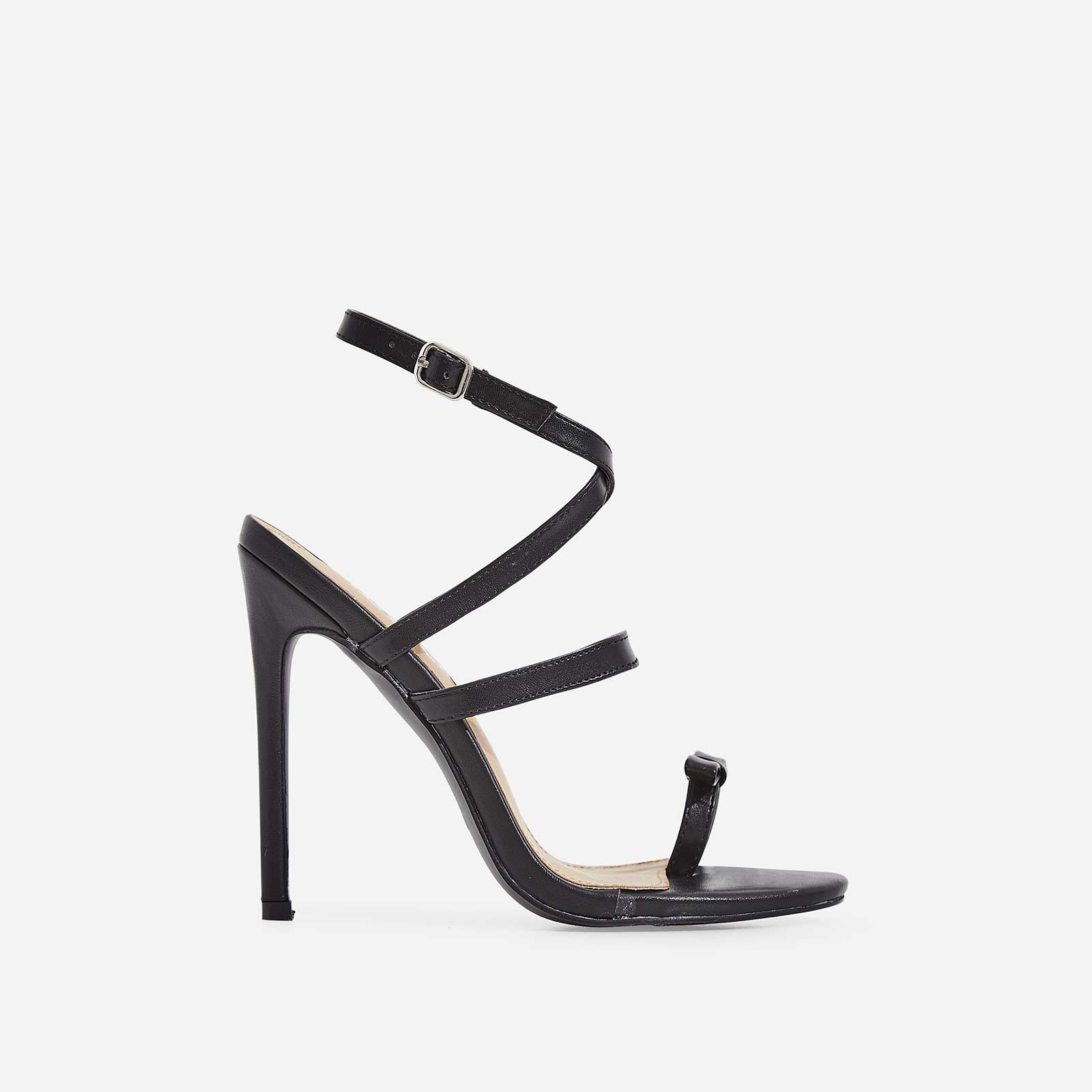 Samira Bow Detail Barely There Heel In Black Faux Leather