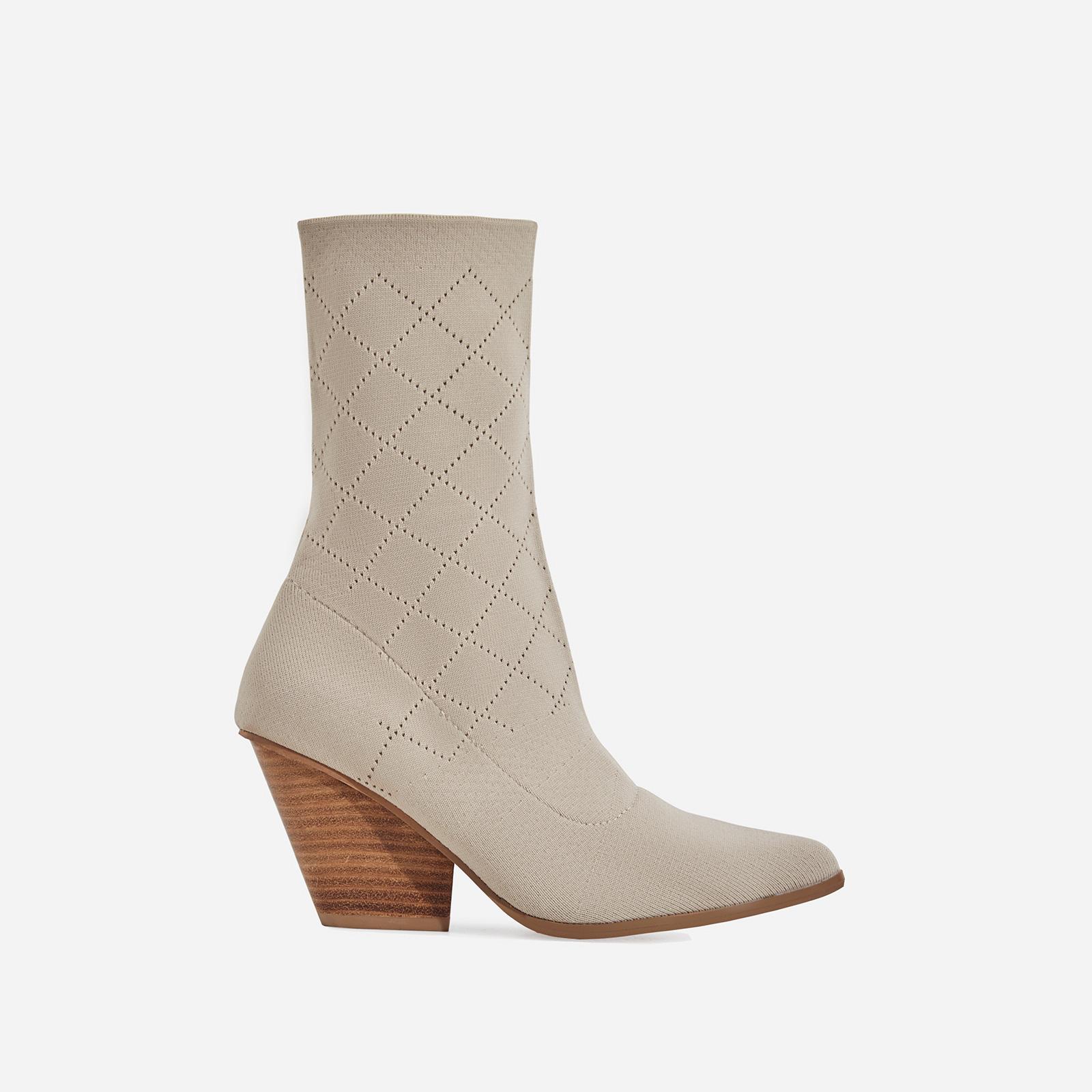 6b933d1985 Sammy Block Heel Sock Western Ankle Boot In Nude Knit