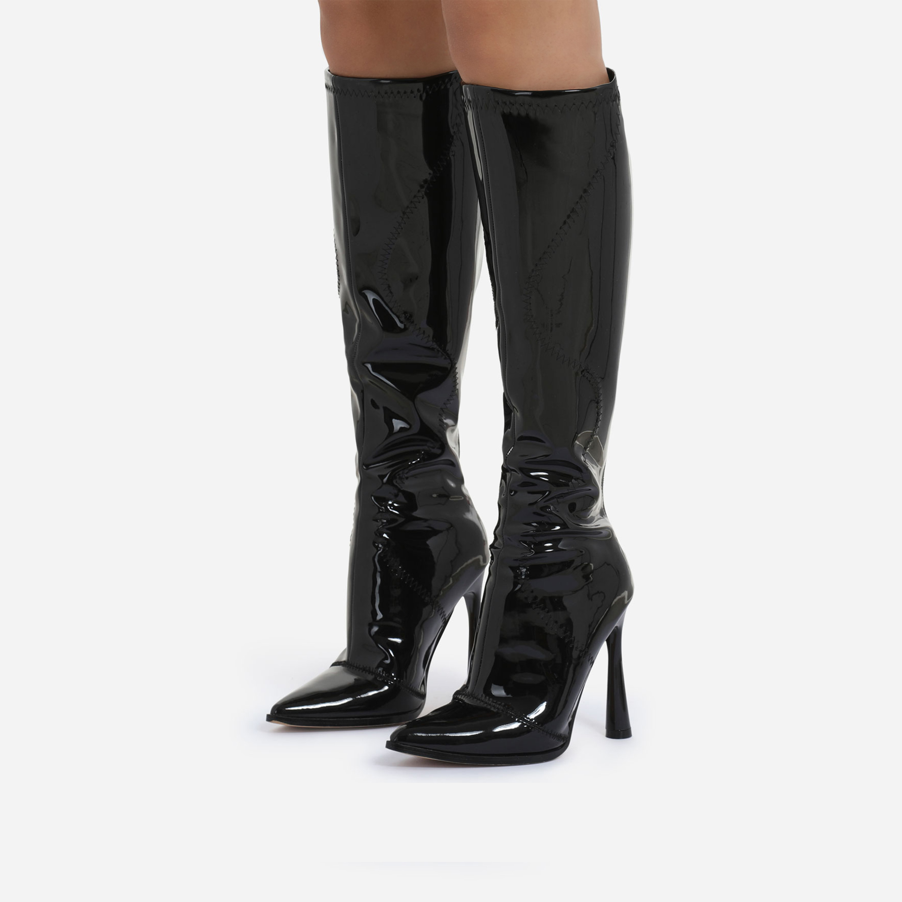 Austin Curved Heel Knee High Long Boot In Black Patent