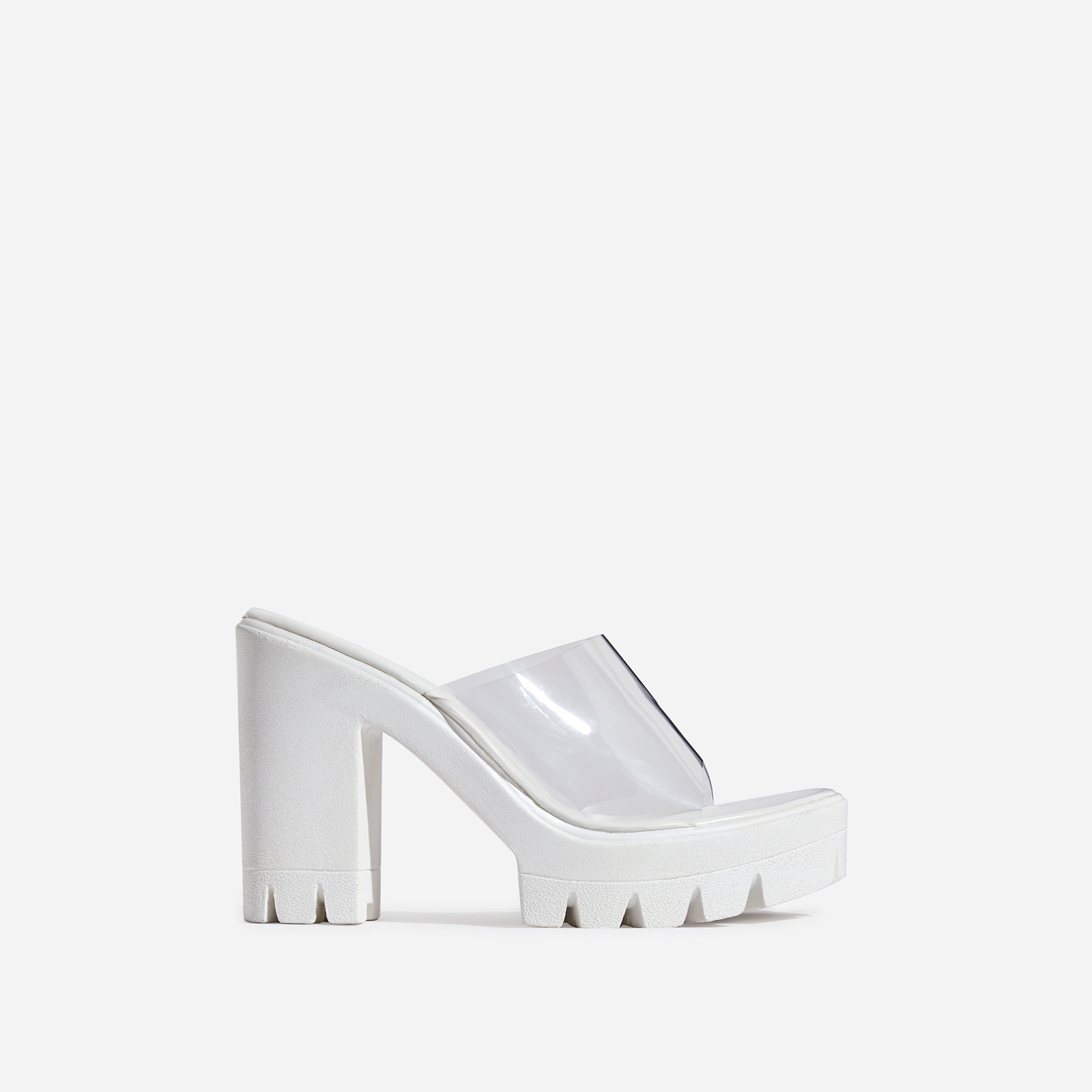 Voice Chunky Sole Perspex Peep Toe Heel Mule In White