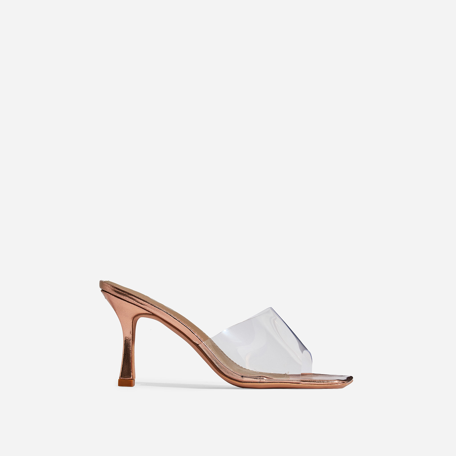 Hilton Square Peep Toe Perspex Kitten Heel Mule In Rose Gold Patent
