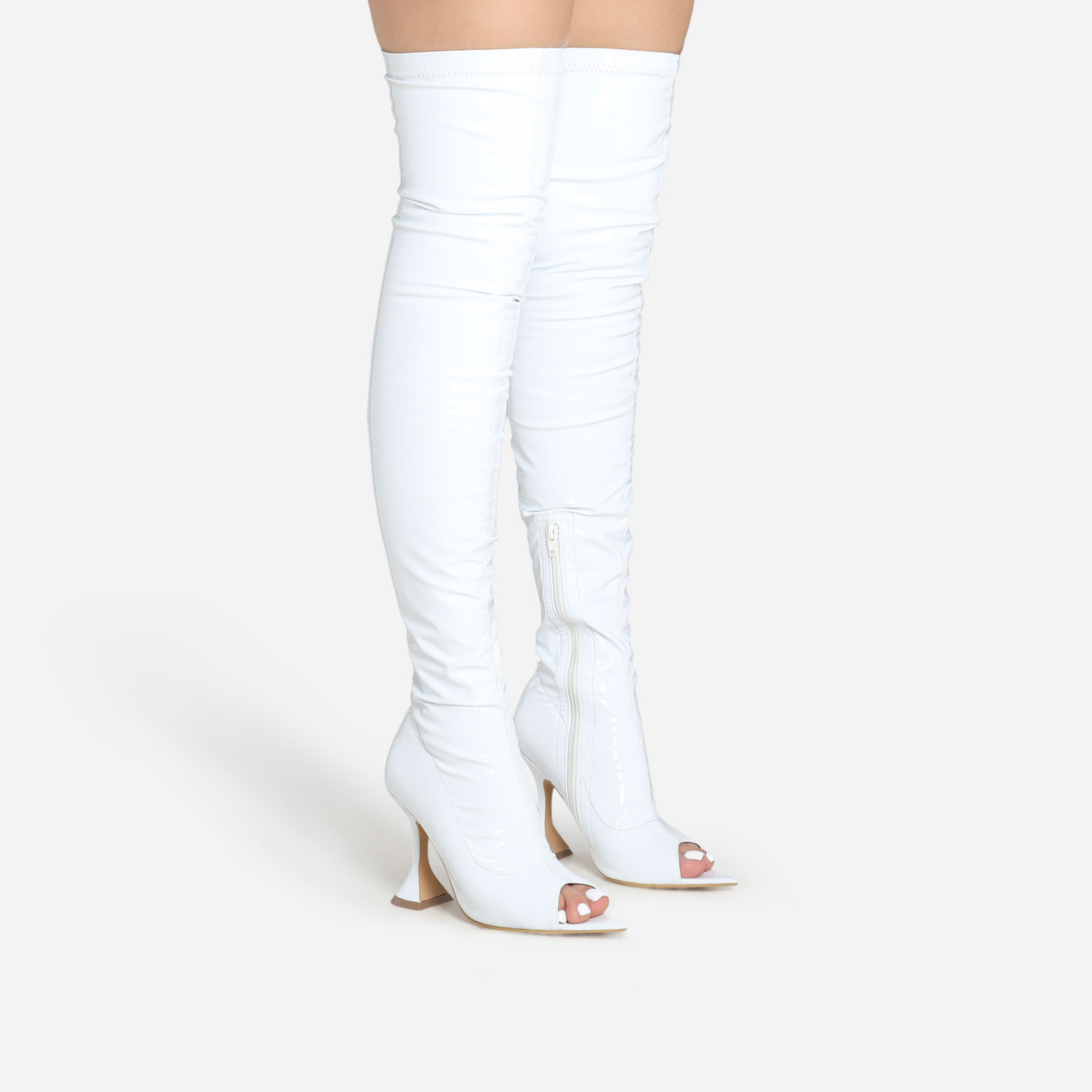 Jump Pyramid Heel Peep Toe Over The Knee Thigh High Long Boot In White Patent
