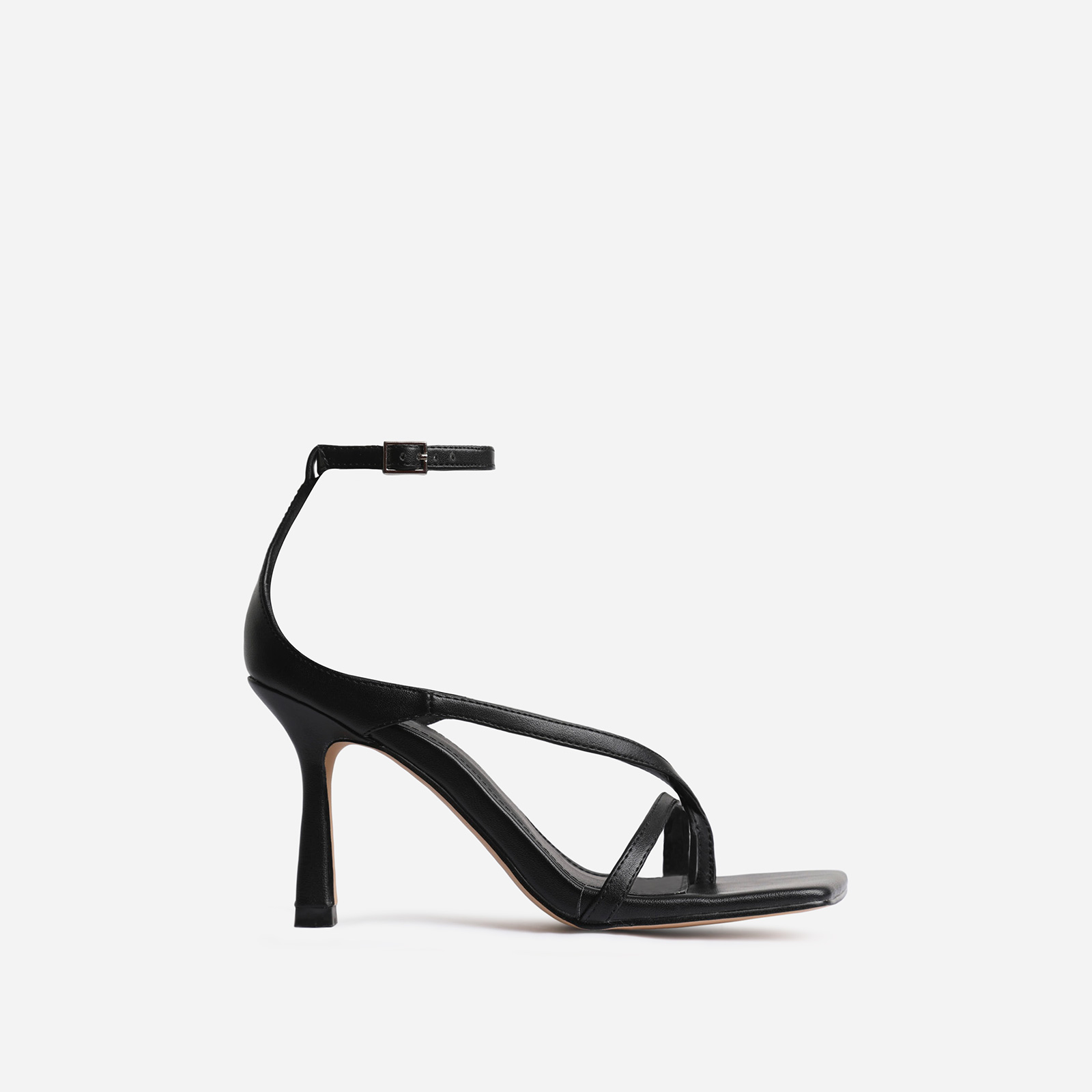 Eve Square Toe Strappy Heel In Black Faux Leather