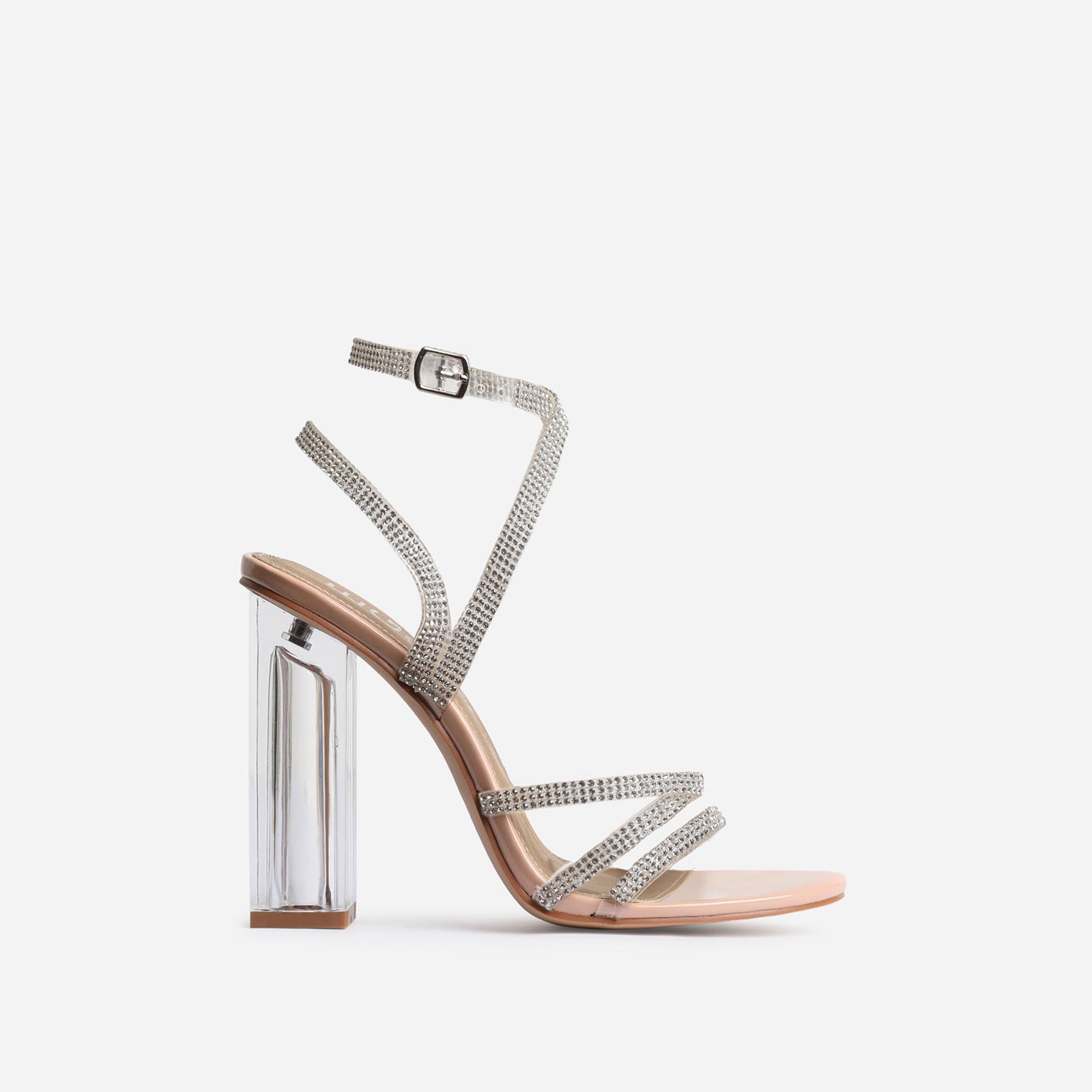 Dash Diamante Detail Clear Perspex Block Heel In Nude Patent