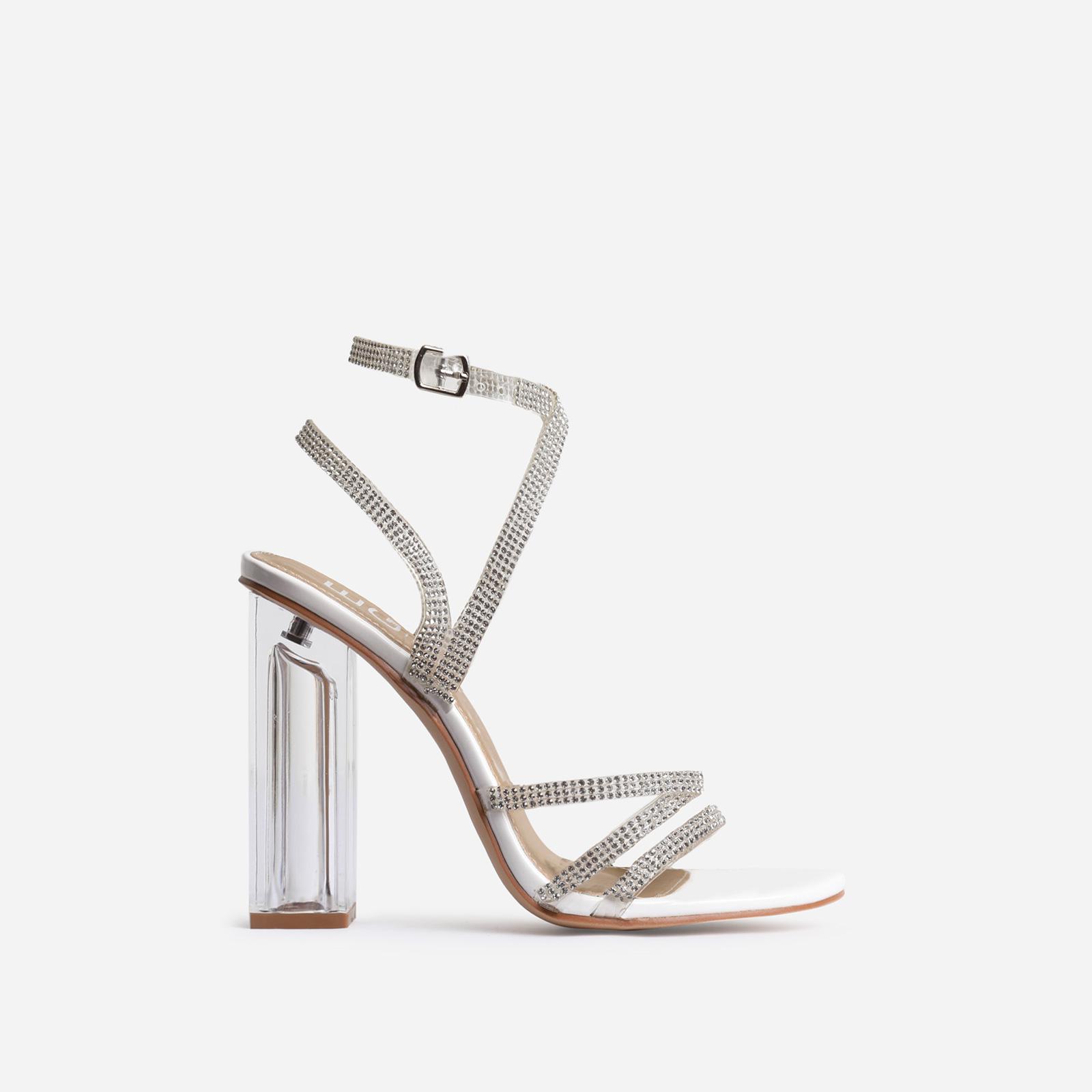 Dash Diamante Detail Clear Perspex Block Heel In White Patent