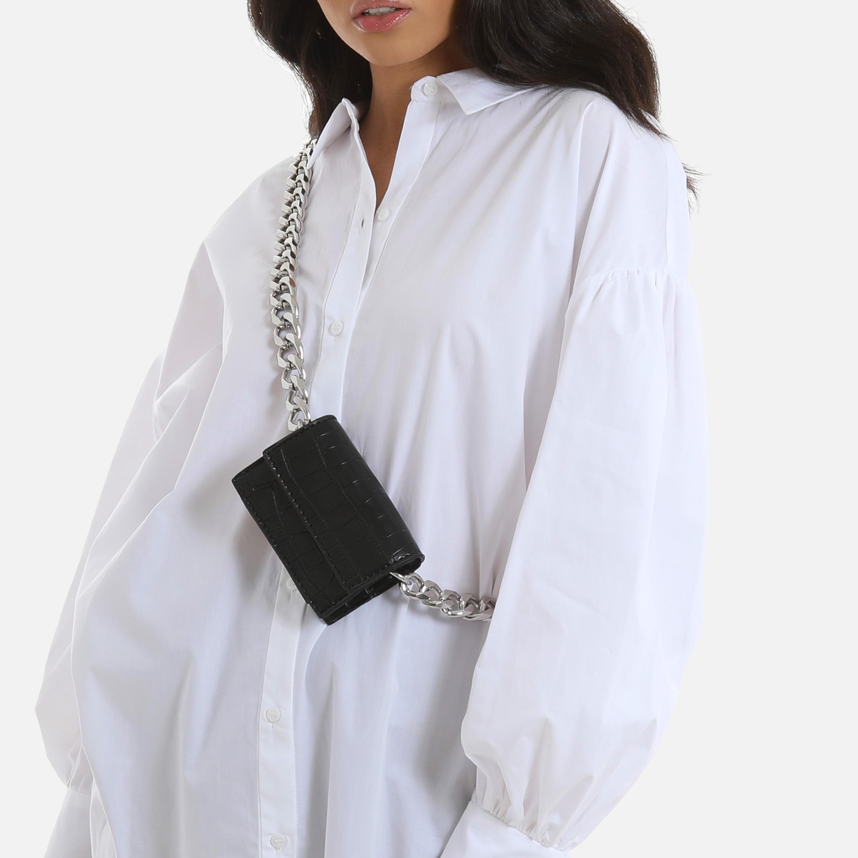 Chunky Chain Mini Cross Body Bag In Black Faux Leather