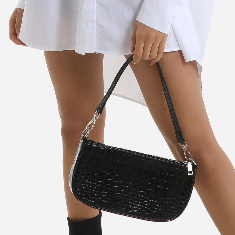 Baguette Bag In Black Croc Print Faux Leather