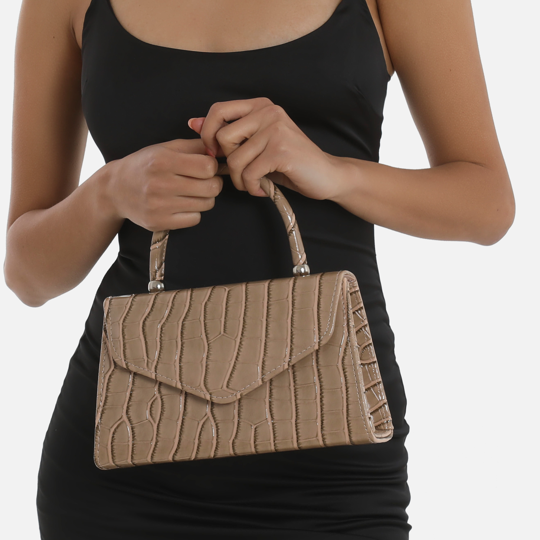 Chain Detail Boxy Handbag In Tan Brown Croc Print Patent