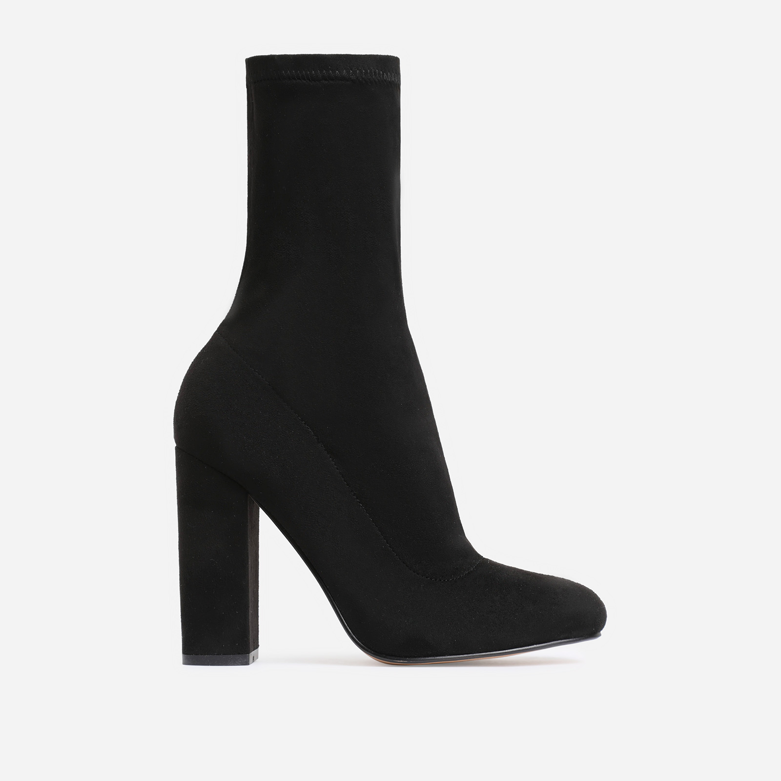 Hayden Block Heel Sock Boot In Black Faux Suede